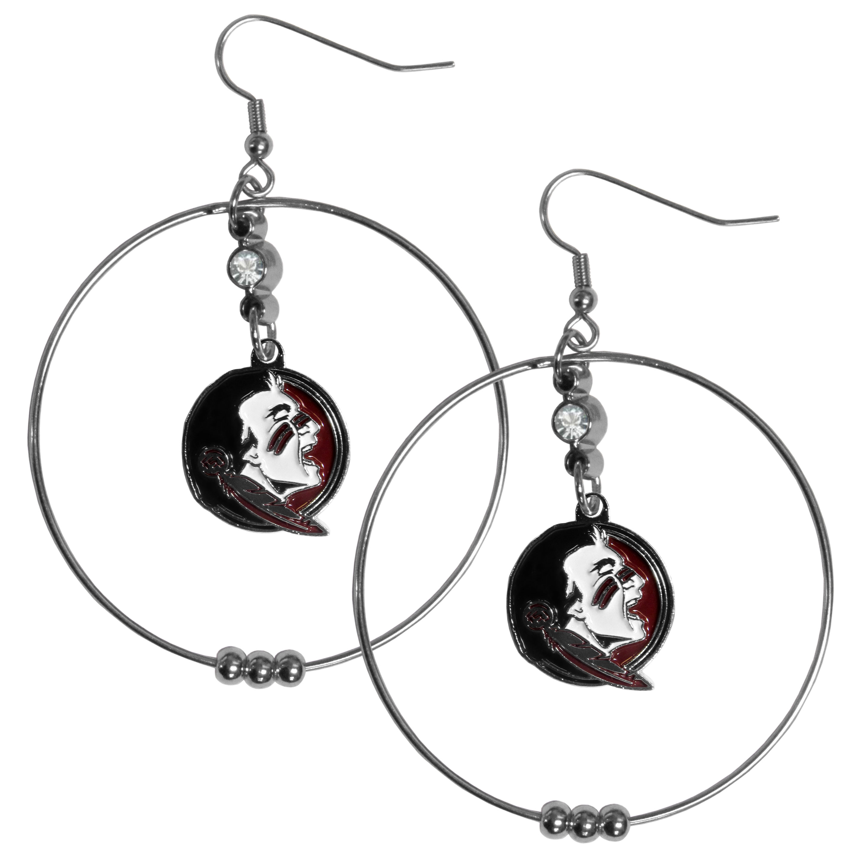 Florida St. Seminoles 2 Inch Hoop Earrings - Our large hoop earrings have a fully cast and enameled Florida St. Seminoles charm with enameled detail and a high polish nickel free chrome finish and rhinestone access. Hypoallergenic fishhook posts.
