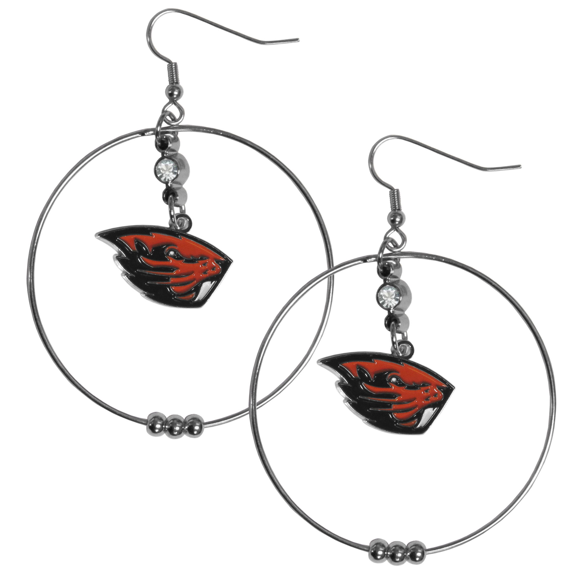 Oregon St. Beavers 2 Inch Hoop Earrings - Our large hoop earrings have a fully cast and enameled Oregon St. Beavers charm with enameled detail and a high polish nickel free chrome finish and rhinestone access. Hypoallergenic fishhook posts.
