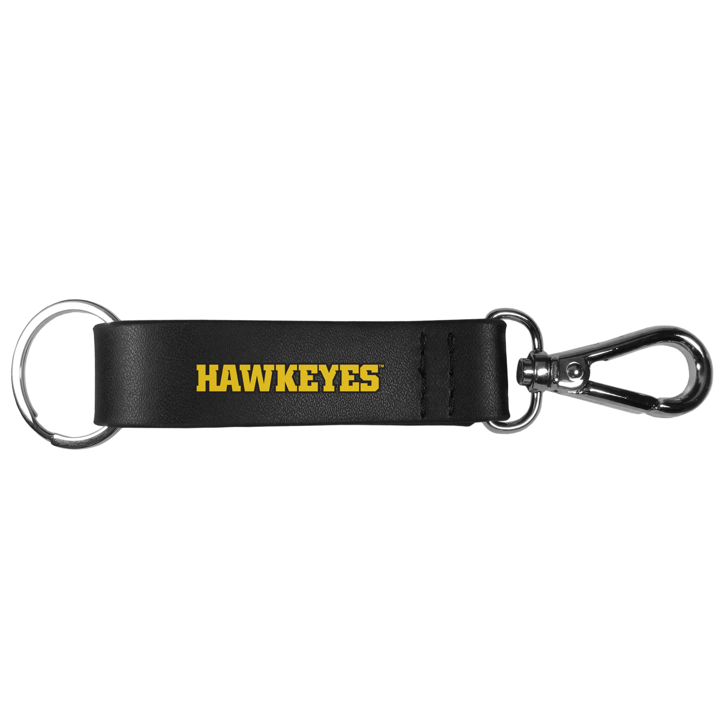 Iowa Hawkeyes Black Strap Key Chain - This stylish key chain features a spring clasp at one end of the chunky black strap and a standard split ring at the other. The leather like textured strap features an expertly printed Iowa Hawkeyes wordmark. The key chain can be easily clipped to purses, backpacks or belt loops to make it easier to find your keys.