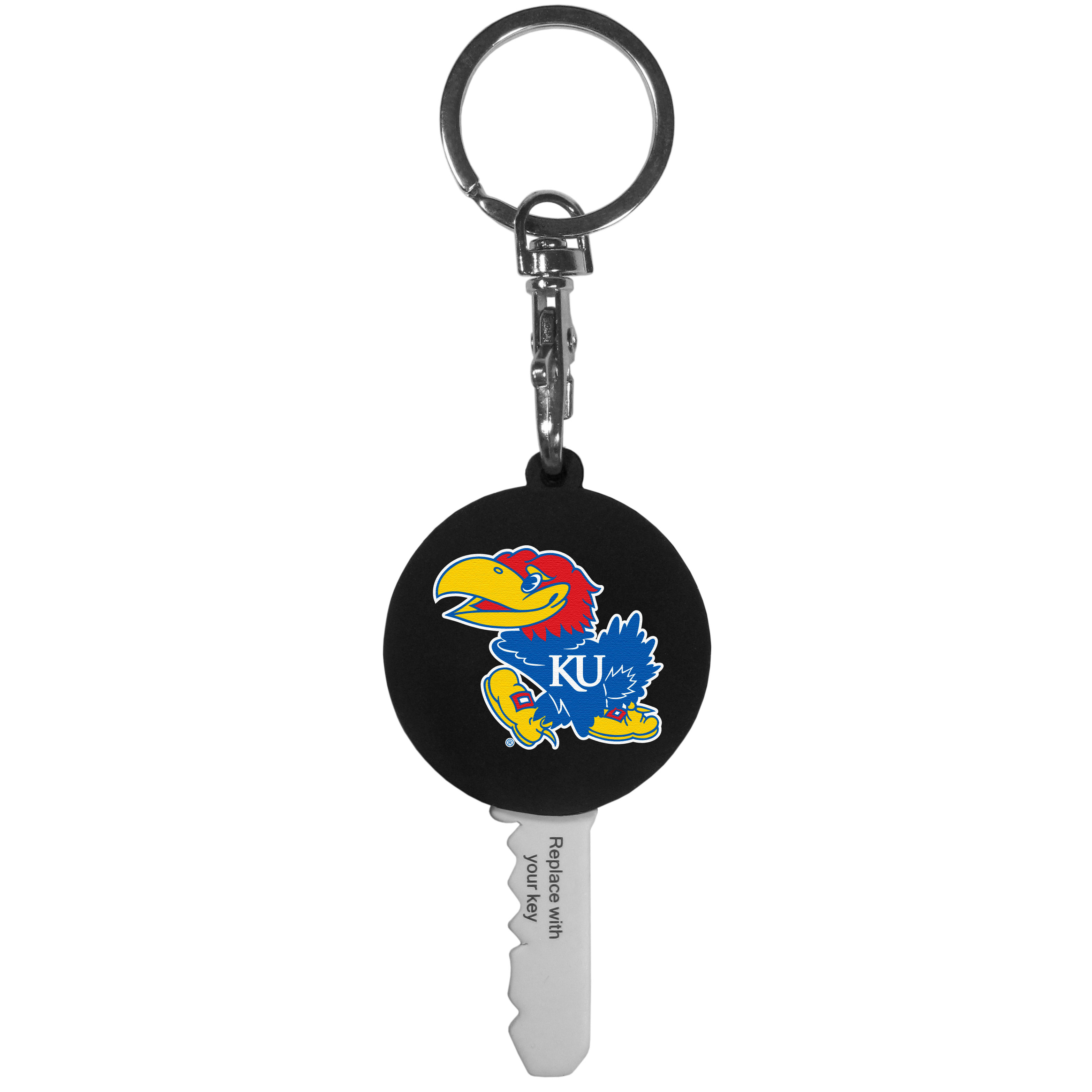 Kansas Jayhawks Mini Light Key Topper - This super handy little key topper has a built in mini light that illuminates the lock so you do not have to fumble in the dark trying to open your door. You slide your house key into the top of the rubber key topper and your ready to go. The topper features a Kansas Jayhawks logo on the front of the topper.
