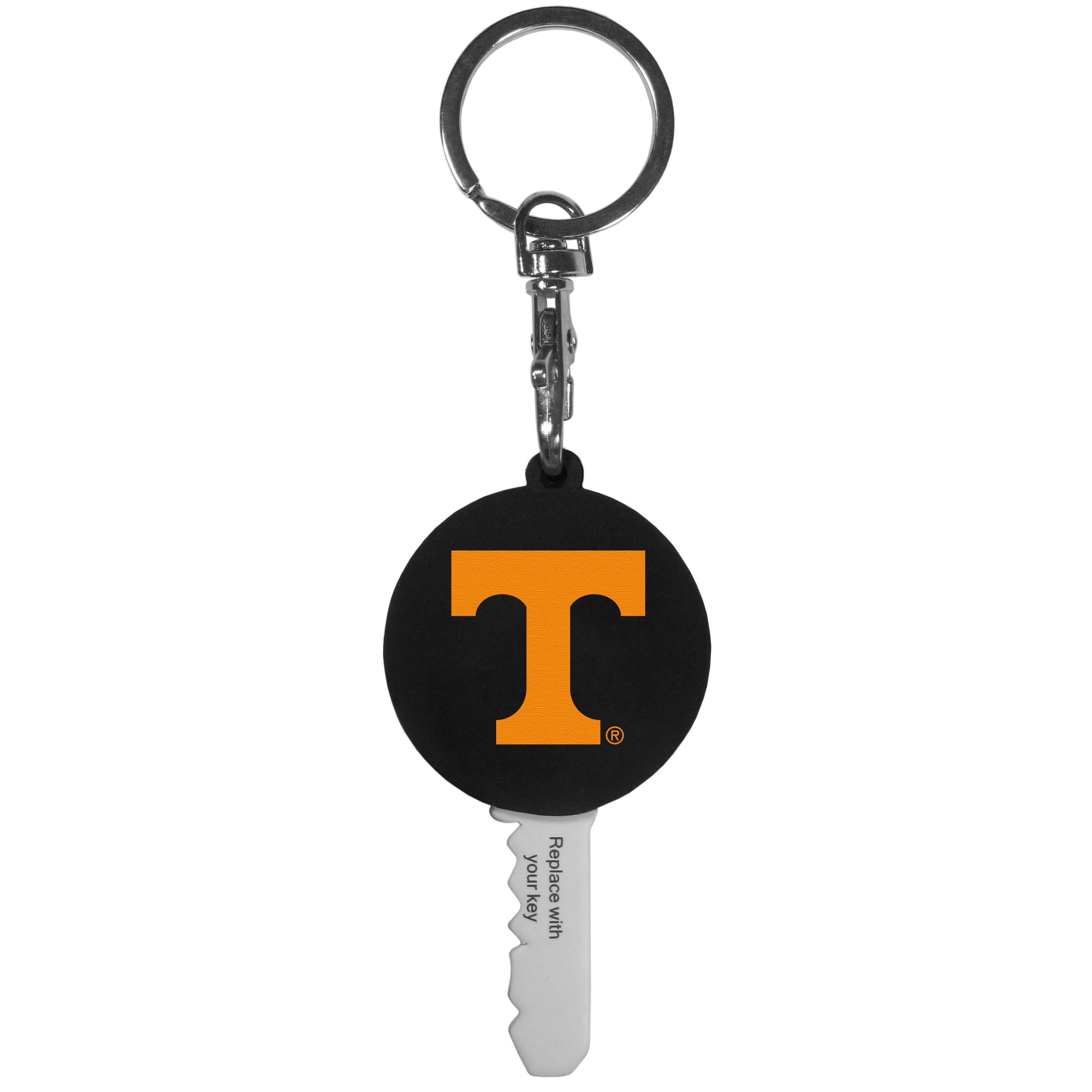 Tennessee Volunteers Mini Light Key Topper - This super handy little key topper has a built in mini light that illuminates the lock so you do not have to fumble in the dark trying to open your door. You slide your house key into the top of the rubber key topper and your ready to go. The topper features a Tennessee Volunteers logo on the front of the topper.