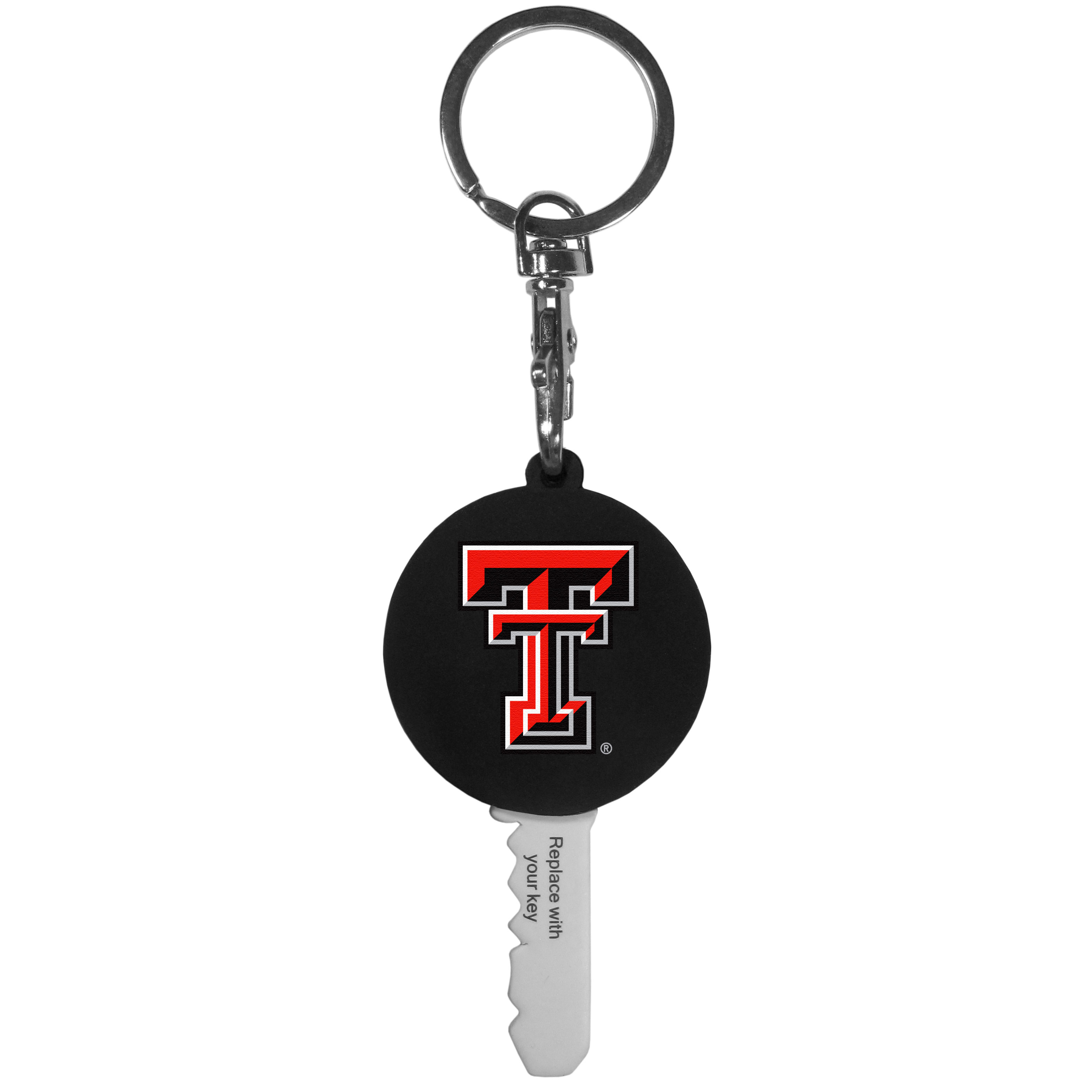 Texas Tech Raiders Mini Light Key Topper - This super handy little key topper has a built in mini light that illuminates the lock so you do not have to fumble in the dark trying to open your door. You slide your house key into the top of the rubber key topper and your ready to go. The topper features a Texas Tech Raiders logo on the front of the topper.