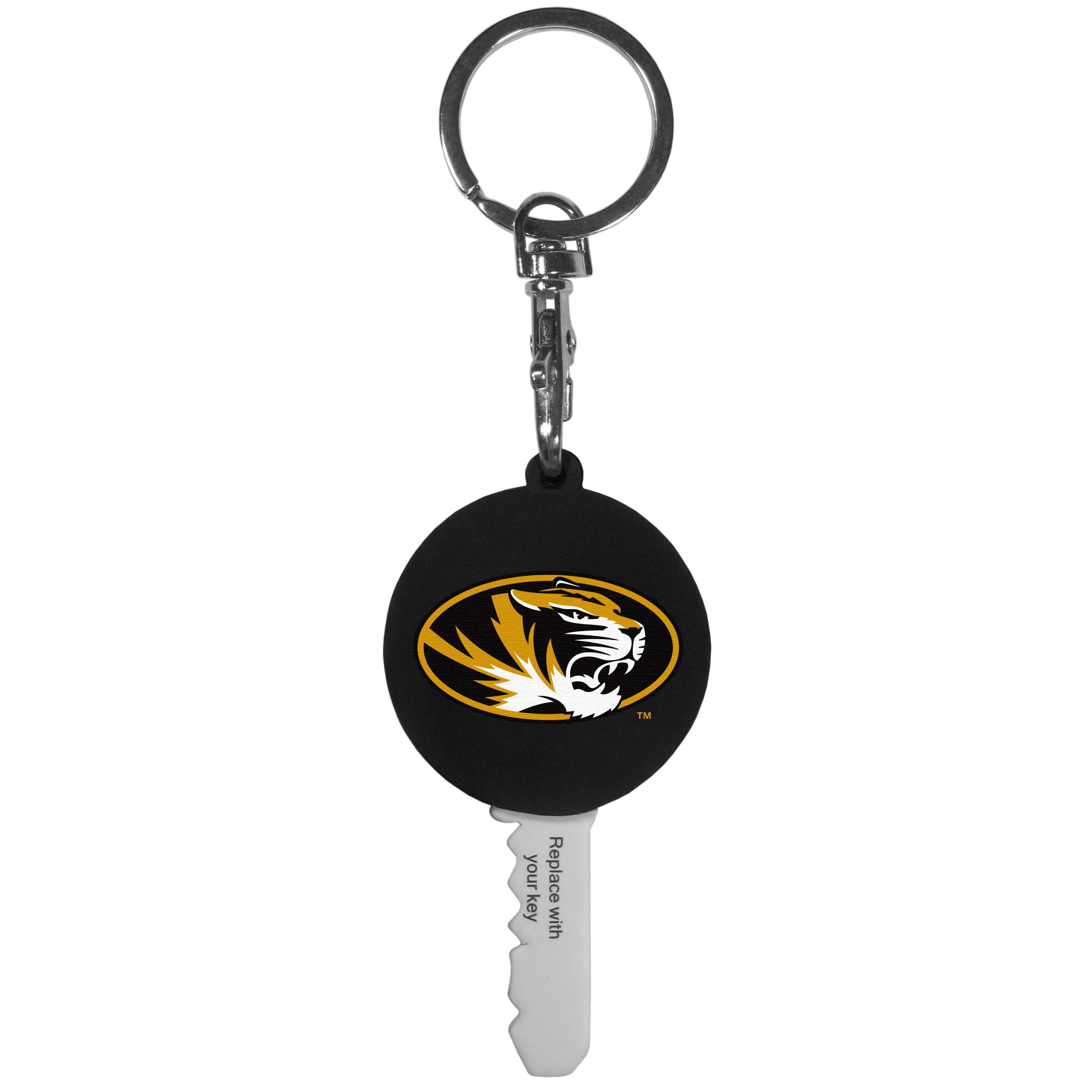Missouri Tigers Mini Light Key Topper - This super handy little key topper has a built in mini light that illuminates the lock so you do not have to fumble in the dark trying to open your door. You slide your house key into the top of the rubber key topper and your ready to go. The topper features a Missouri Tigers logo on the front of the topper.