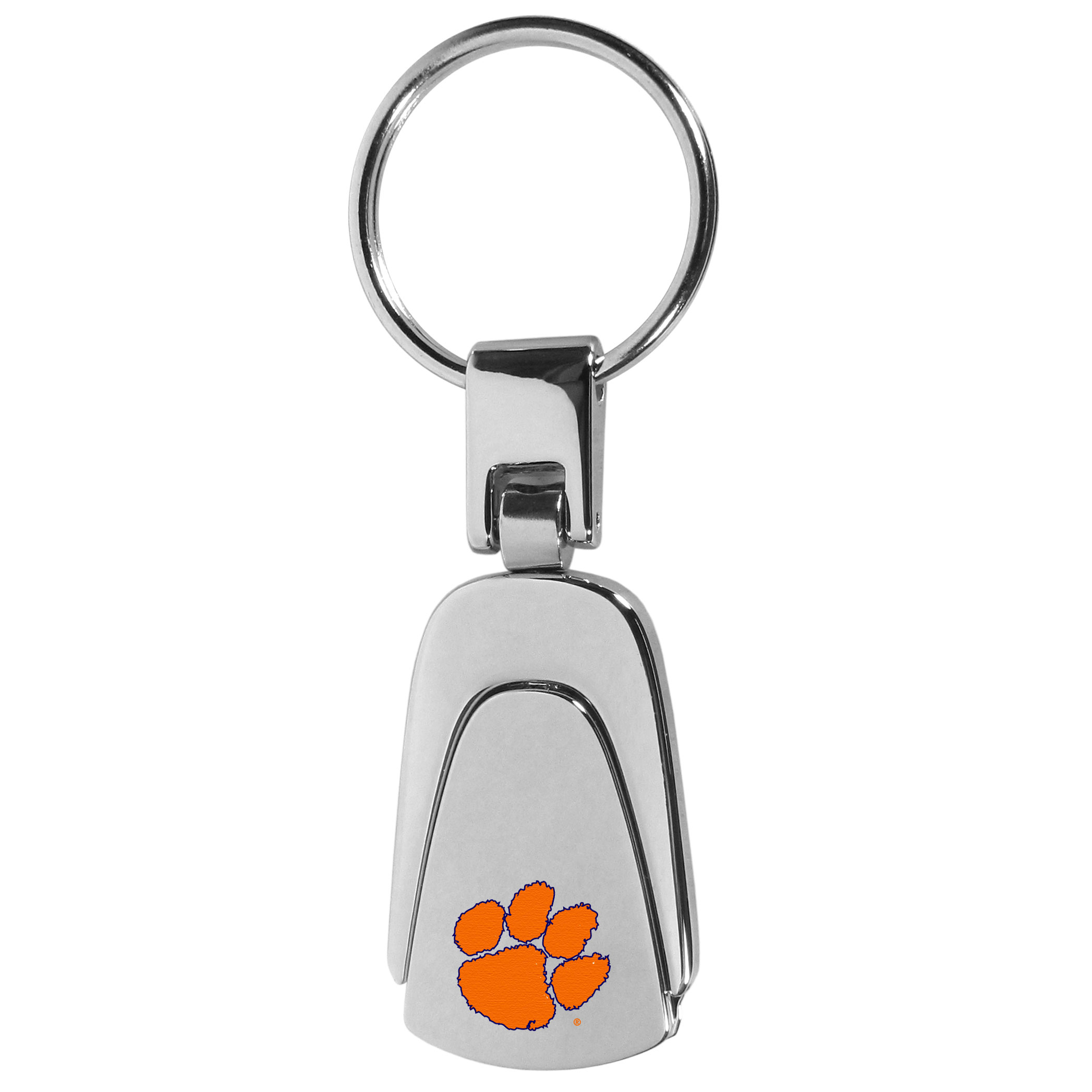Clemson Tigers Steel Teardop Key Chain - Our Clemson Tigers stainless steel, teardrop key chain is a high-quality key chain with classic style. The key chain a high-polish finish with a full color team logo. A standard split ring for your home and auto keys.