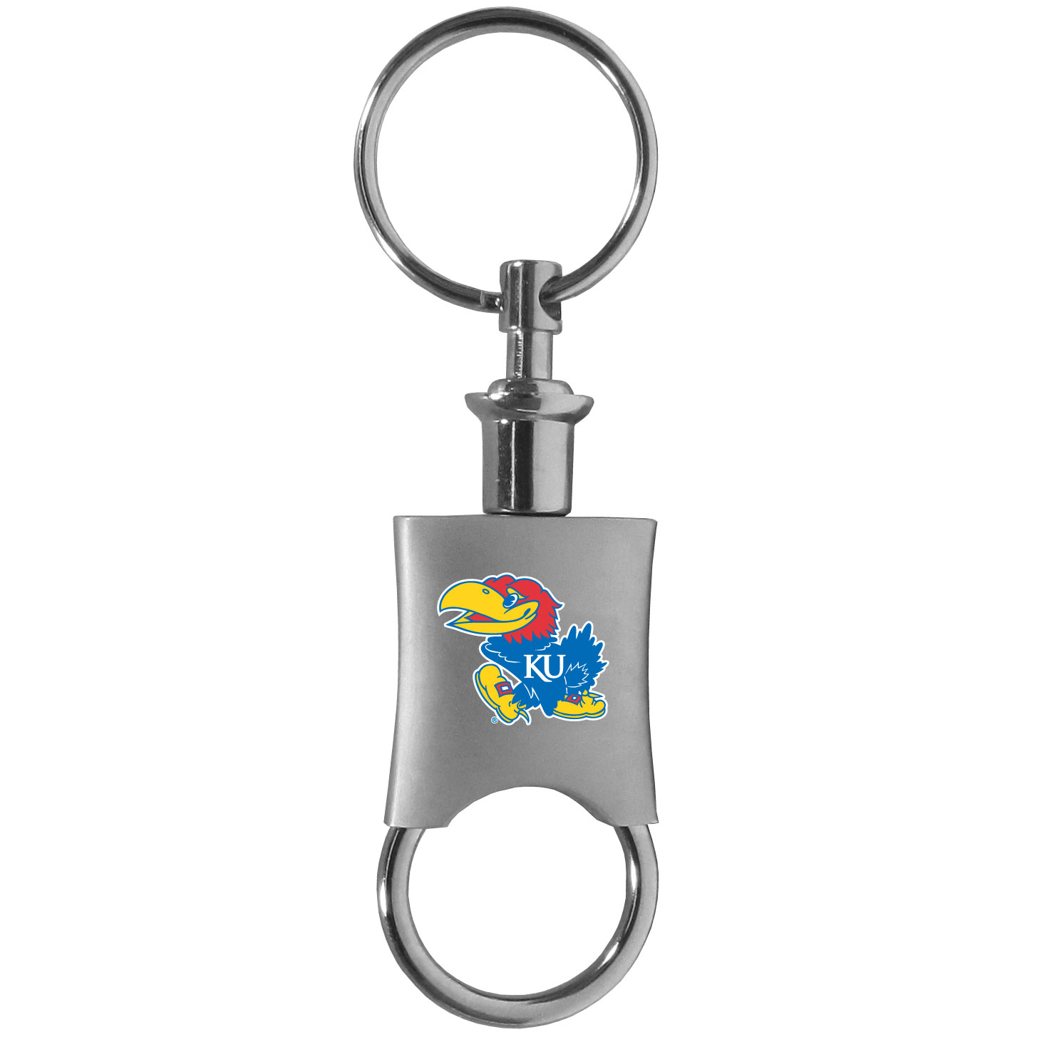 Kansas Jayhawks Valet Key Chain - This high-quality key chain is both fashionable and functional. The key chain features to key rings and one of them detaches easily for valet use so you do not have to risk giving out all of your keys. The beautiful brushed metal finish features the Kansas Jayhawks logo expertly printed on front.