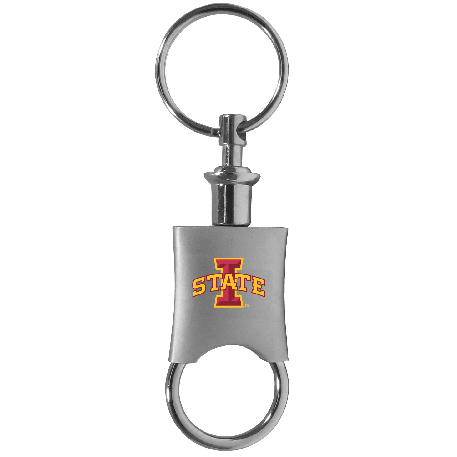 Iowa St. Cyclones Valet Key Chain - This high-quality key chain is both fashionable and functional. The key chain features to key rings and one of them detaches easily for valet use so you do not have to risk giving out all of your keys. The beautiful brushed metal finish features the Iowa St. Cyclones logo expertly printed on front.