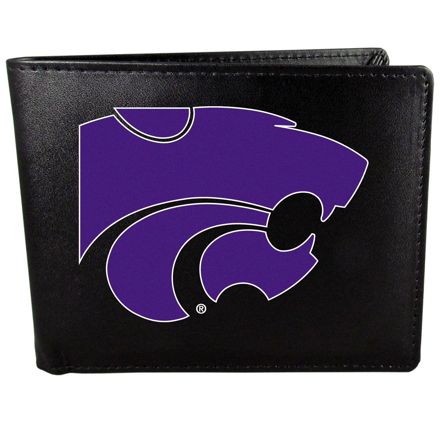 Kansas St. Wildcats Leather Bi-fold Wallet, Large Logo - Our classic fine leather bi-fold wallet is meticulously crafted with genuine leather that will age beautifully so you will have a quality wallet for years to come. The wallet opens to a large, billfold pocket and numerous credit card slots and has a convenient windowed ID slot. The front of the wallet features an extra large Kansas St. Wildcats printed logo.