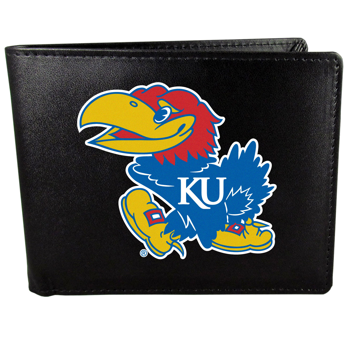 Kansas Jayhawks Leather Bi-fold Wallet, Large Logo - Our classic fine leather bi-fold wallet is meticulously crafted with genuine leather that will age beautifully so you will have a quality wallet for years to come. The wallet opens to a large, billfold pocket and numerous credit card slots and has a convenient windowed ID slot. The front of the wallet features an extra large Kansas Jayhawks printed logo.