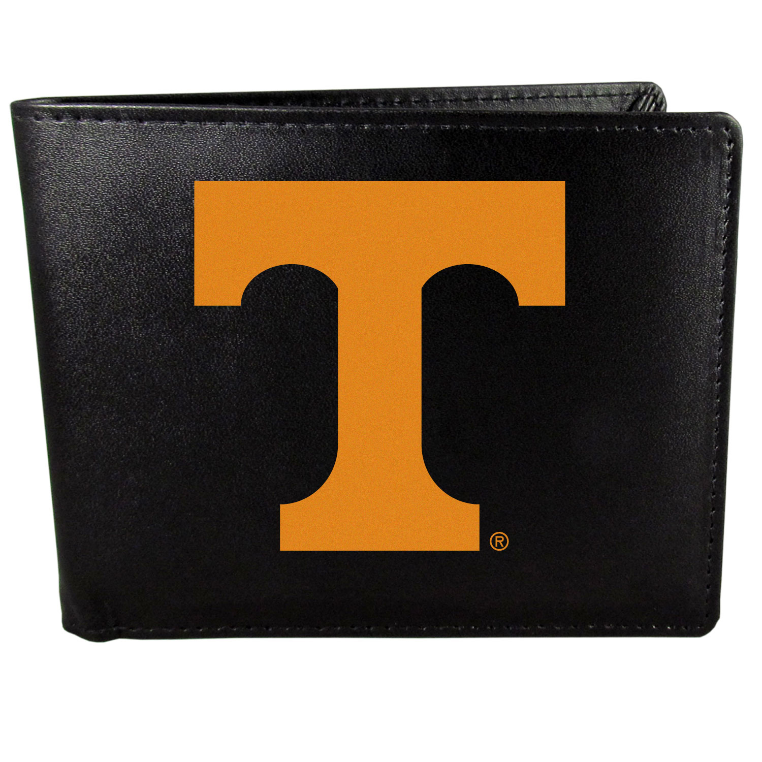 Tennessee Volunteers Leather Bi-fold Wallet, Large Logo - Our classic fine leather bi-fold wallet is meticulously crafted with genuine leather that will age beautifully so you will have a quality wallet for years to come. The wallet opens to a large, billfold pocket and numerous credit card slots and has a convenient windowed ID slot. The front of the wallet features an extra large Tennessee Volunteers printed logo.