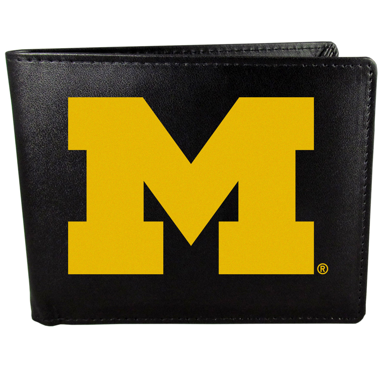 Michigan Wolverines Leather Bi-fold Wallet, Large Logo - Our classic fine leather bi-fold wallet is meticulously crafted with genuine leather that will age beautifully so you will have a quality wallet for years to come. The wallet opens to a large, billfold pocket and numerous credit card slots and has a convenient windowed ID slot. The front of the wallet features an extra large Michigan Wolverines printed logo.