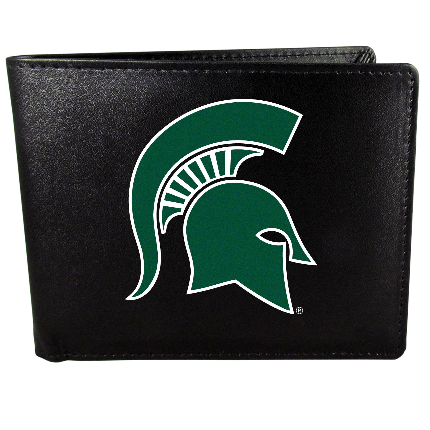 Michigan St. Spartans Leather Bi-fold Wallet, Large Logo - Our classic fine leather bi-fold wallet is meticulously crafted with genuine leather that will age beautifully so you will have a quality wallet for years to come. The wallet opens to a large, billfold pocket and numerous credit card slots and has a convenient windowed ID slot. The front of the wallet features an extra large Michigan St. Spartans printed logo.