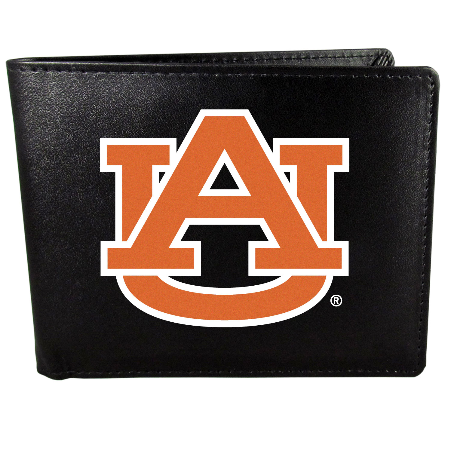 Auburn Tigers Leather Bi-fold Wallet, Large Logo - Our classic fine leather bi-fold wallet is meticulously crafted with genuine leather that will age beautifully so you will have a quality wallet for years to come. The wallet opens to a large, billfold pocket and numerous credit card slots and has a convenient windowed ID slot. The front of the wallet features an extra large Auburn Tigers printed logo.