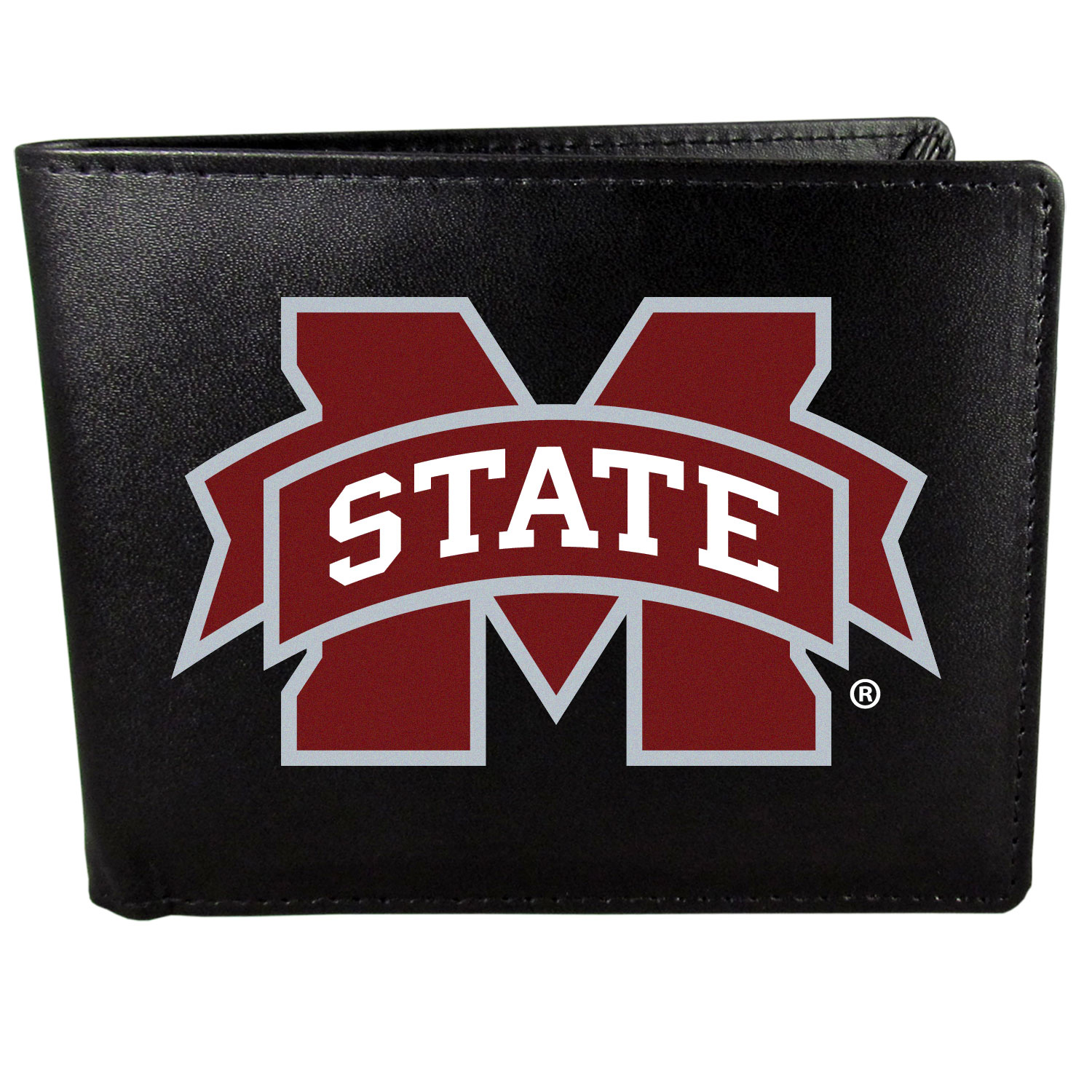 Mississippi St. Bulldogs Leather Bi-fold Wallet, Large Logo - Our classic fine leather bi-fold wallet is meticulously crafted with genuine leather that will age beautifully so you will have a quality wallet for years to come. The wallet opens to a large, billfold pocket and numerous credit card slots and has a convenient windowed ID slot. The front of the wallet features an extra large Mississippi St. Bulldogs printed logo.