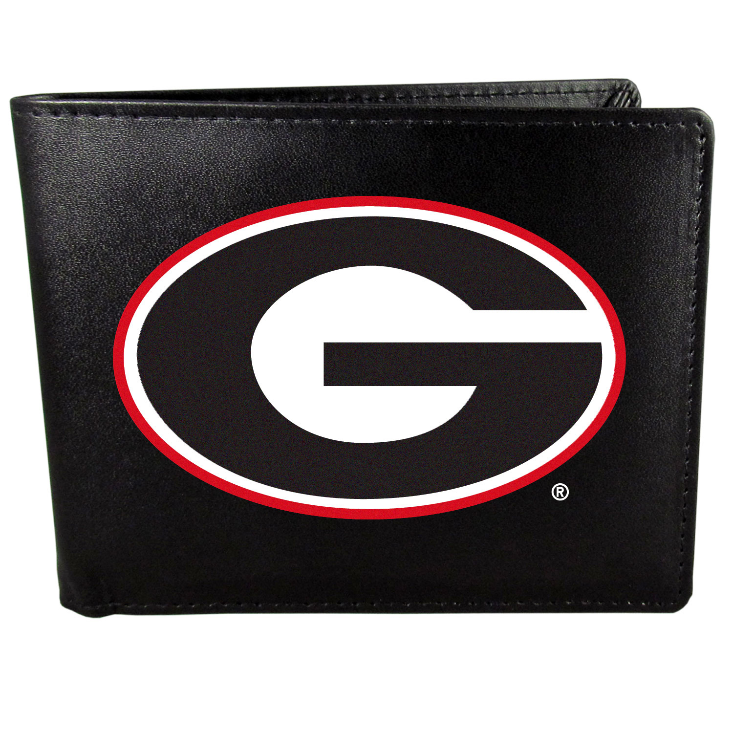 Georgia Bulldogs Leather Bi-fold Wallet, Large Logo - Our classic fine leather bi-fold wallet is meticulously crafted with genuine leather that will age beautifully so you will have a quality wallet for years to come. The wallet opens to a large, billfold pocket and numerous credit card slots and has a convenient windowed ID slot. The front of the wallet features an extra large Georgia Bulldogs printed logo.