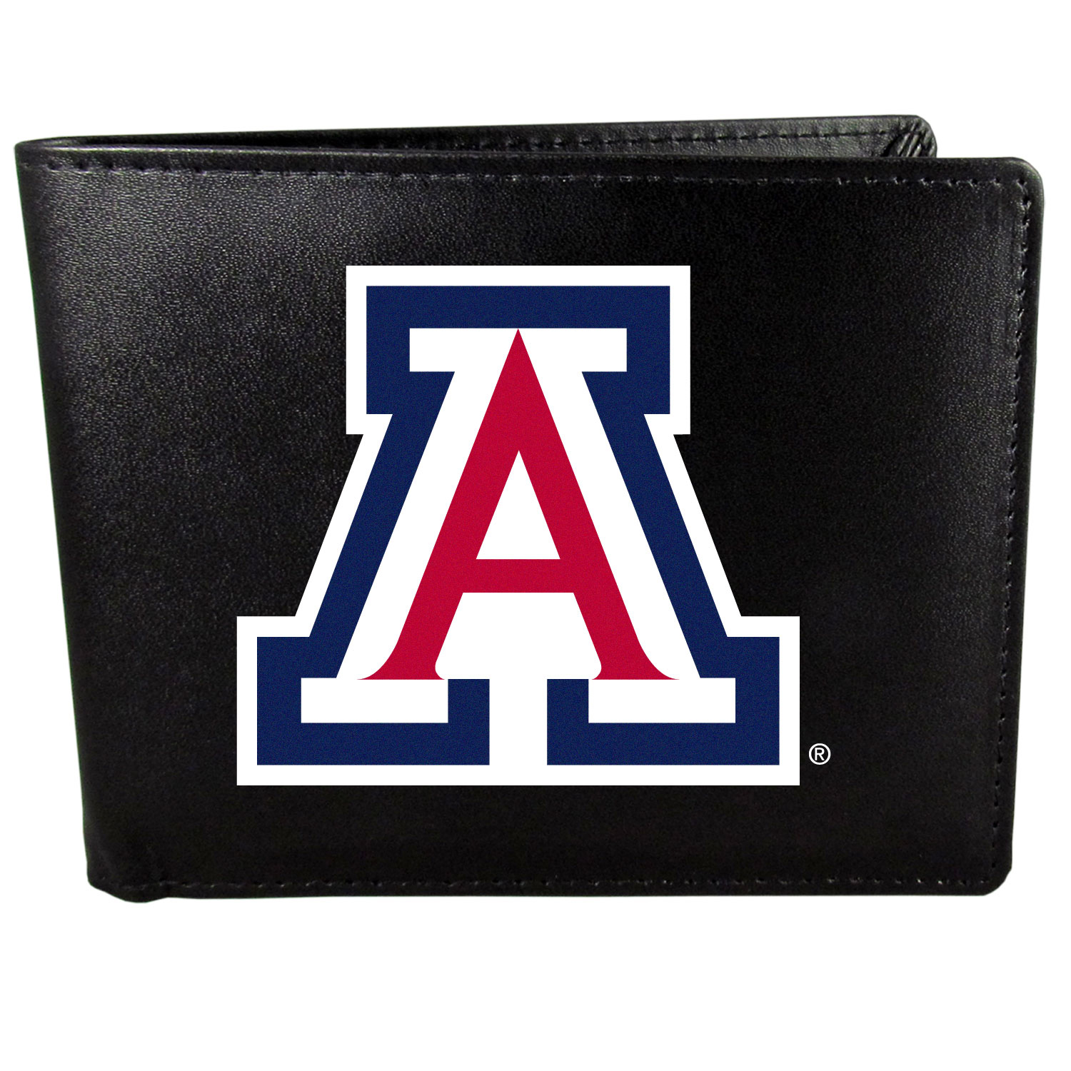 Arizona Wildcats Leather Bi-fold Wallet, Large Logo - Our classic fine leather bi-fold wallet is meticulously crafted with genuine leather that will age beautifully so you will have a quality wallet for years to come. The wallet opens to a large, billfold pocket and numerous credit card slots and has a convenient windowed ID slot. The front of the wallet features an extra large Arizona Wildcats printed logo.