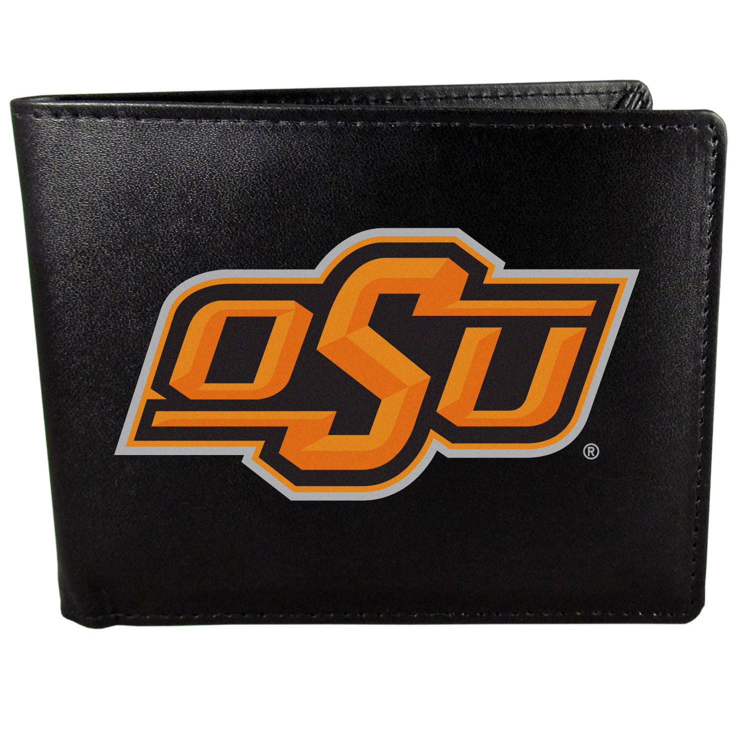 Oklahoma St. Cowboys Leather Bi-fold Wallet, Large Logo - Our classic fine leather bi-fold wallet is meticulously crafted with genuine leather that will age beautifully so you will have a quality wallet for years to come. The wallet opens to a large, billfold pocket and numerous credit card slots and has a convenient windowed ID slot. The front of the wallet features an extra large Oklahoma St. Cowboys printed logo.