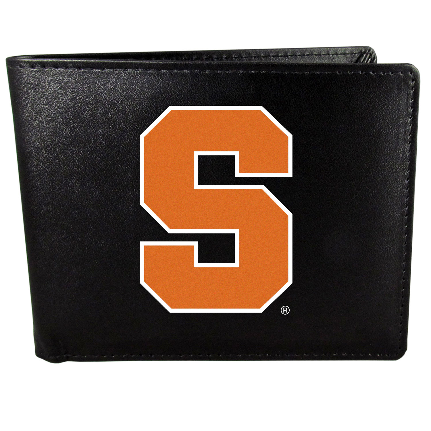 Syracuse Orange Leather Bi-fold Wallet, Large Logo - Our classic fine leather bi-fold wallet is meticulously crafted with genuine leather that will age beautifully so you will have a quality wallet for years to come. The wallet opens to a large, billfold pocket and numerous credit card slots and has a convenient windowed ID slot. The front of the wallet features an extra large Syracuse Orange printed logo.