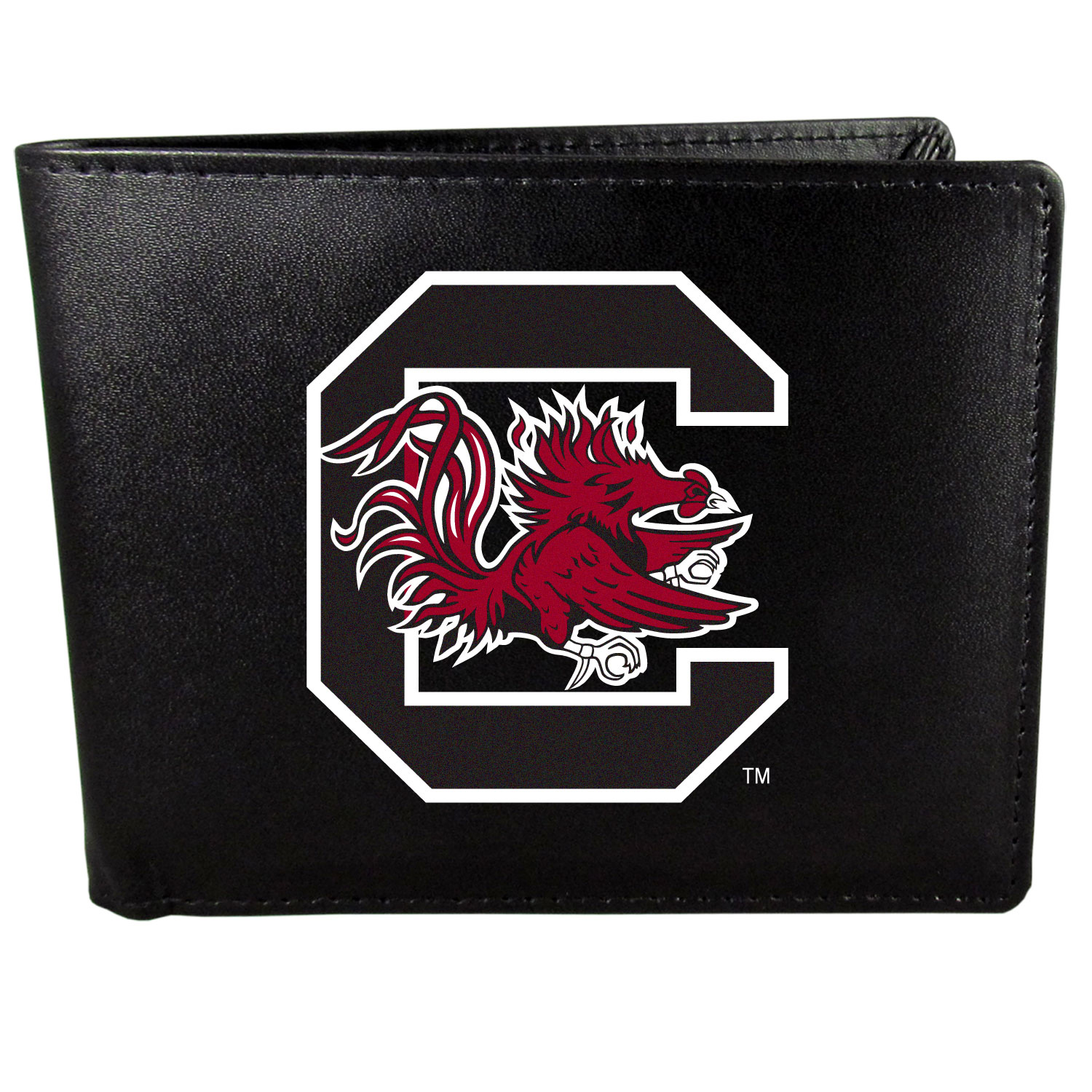 S. Carolina Gamecocks Leather Bi-fold Wallet, Large Logo - Our classic fine leather bi-fold wallet is meticulously crafted with genuine leather that will age beautifully so you will have a quality wallet for years to come. The wallet opens to a large, billfold pocket and numerous credit card slots and has a convenient windowed ID slot. The front of the wallet features an extra large S. Carolina Gamecocks printed logo.