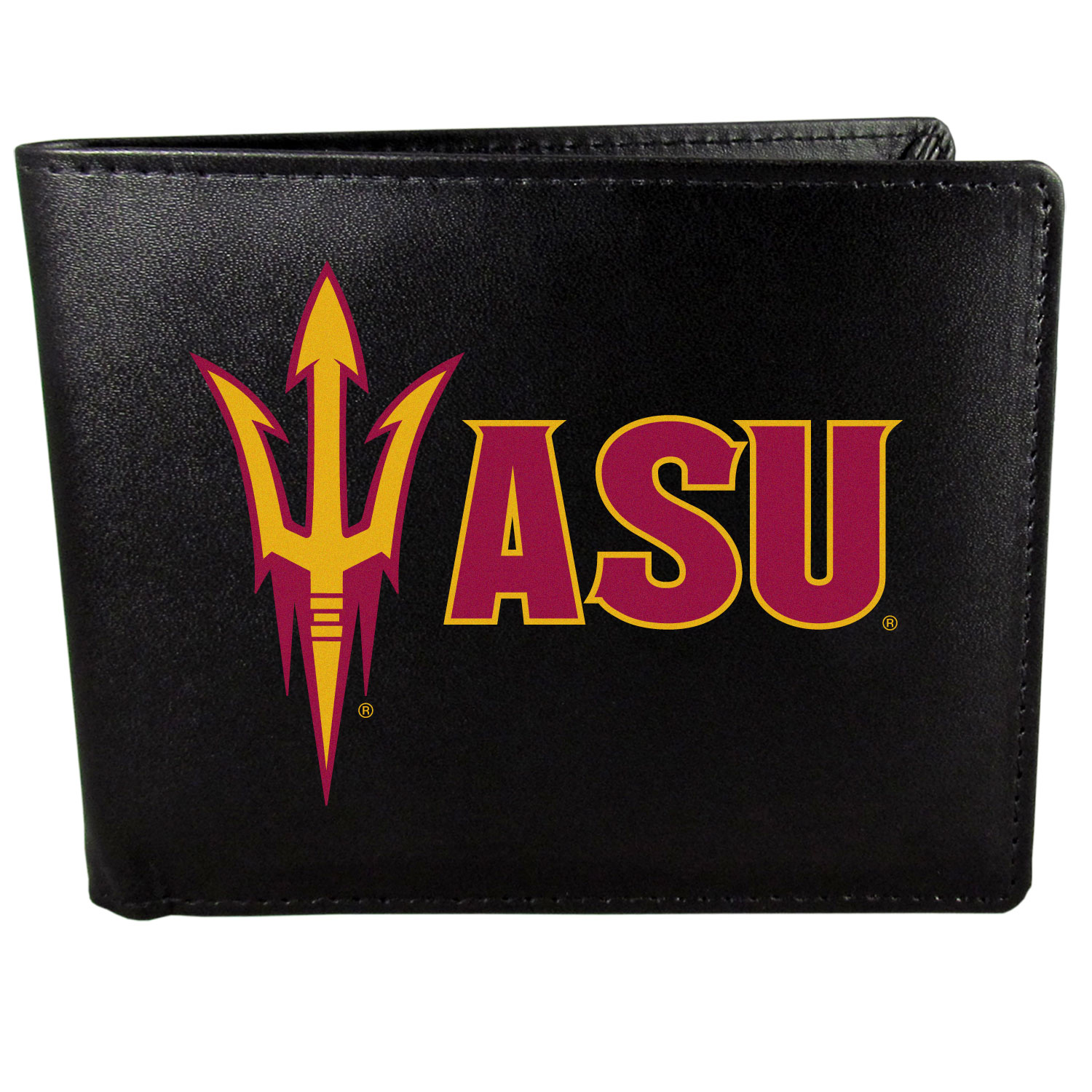 Arizona St. Sun Devils Leather Bi-fold Wallet, Large Logo - Our classic fine leather bi-fold wallet is meticulously crafted with genuine leather that will age beautifully so you will have a quality wallet for years to come. The wallet opens to a large, billfold pocket and numerous credit card slots and has a convenient windowed ID slot. The front of the wallet features an extra large Arizona St. Sun Devils printed logo.