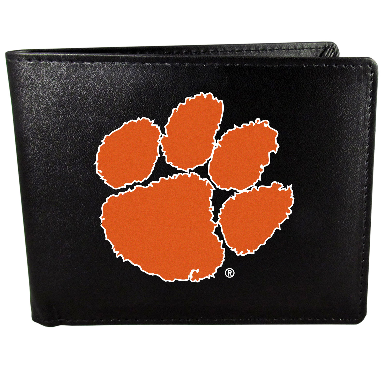 Clemson Tigers Leather Bi-fold Wallet, Large Logo - Our classic fine leather bi-fold wallet is meticulously crafted with genuine leather that will age beautifully so you will have a quality wallet for years to come. The wallet opens to a large, billfold pocket and numerous credit card slots and has a convenient windowed ID slot. The front of the wallet features an extra large Clemson Tigers printed logo.