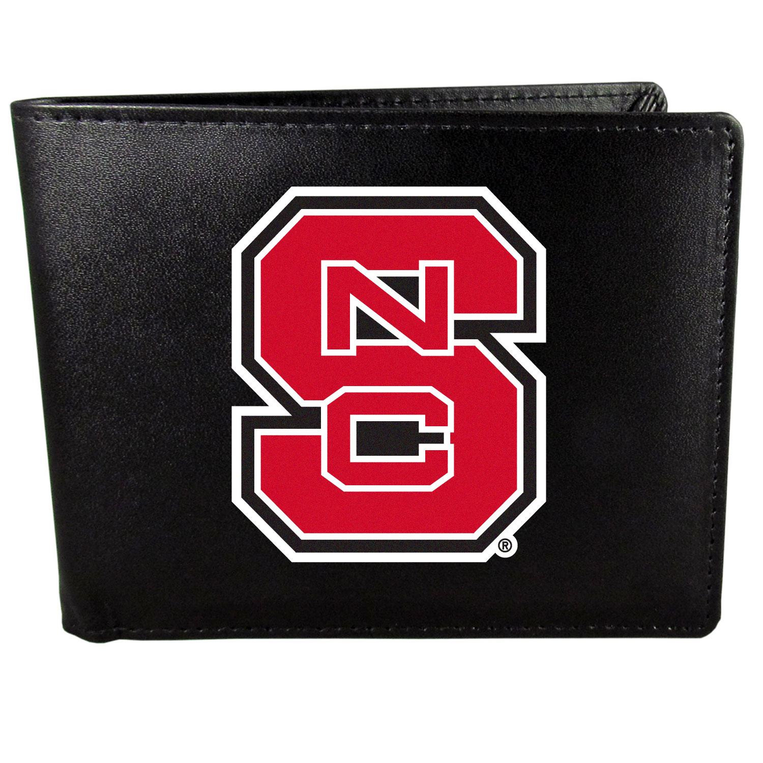 N. Carolina St. Wolfpack Leather Bi-fold Wallet, Large Logo - Our classic fine leather bi-fold wallet is meticulously crafted with genuine leather that will age beautifully so you will have a quality wallet for years to come. The wallet opens to a large, billfold pocket and numerous credit card slots and has a convenient windowed ID slot. The front of the wallet features an extra large N. Carolina St. Wolfpack printed logo.