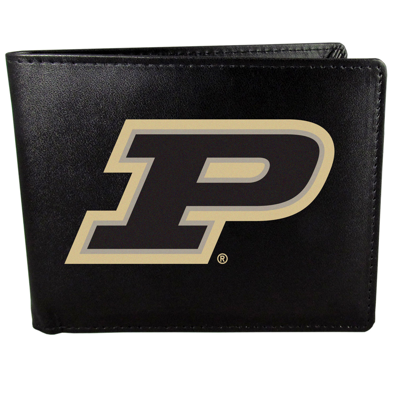 Purdue Boilermakers Leather Bi-fold Wallet, Large Logo - Our classic fine leather bi-fold wallet is meticulously crafted with genuine leather that will age beautifully so you will have a quality wallet for years to come. The wallet opens to a large, billfold pocket and numerous credit card slots and has a convenient windowed ID slot. The front of the wallet features an extra large Purdue Boilermakers printed logo.