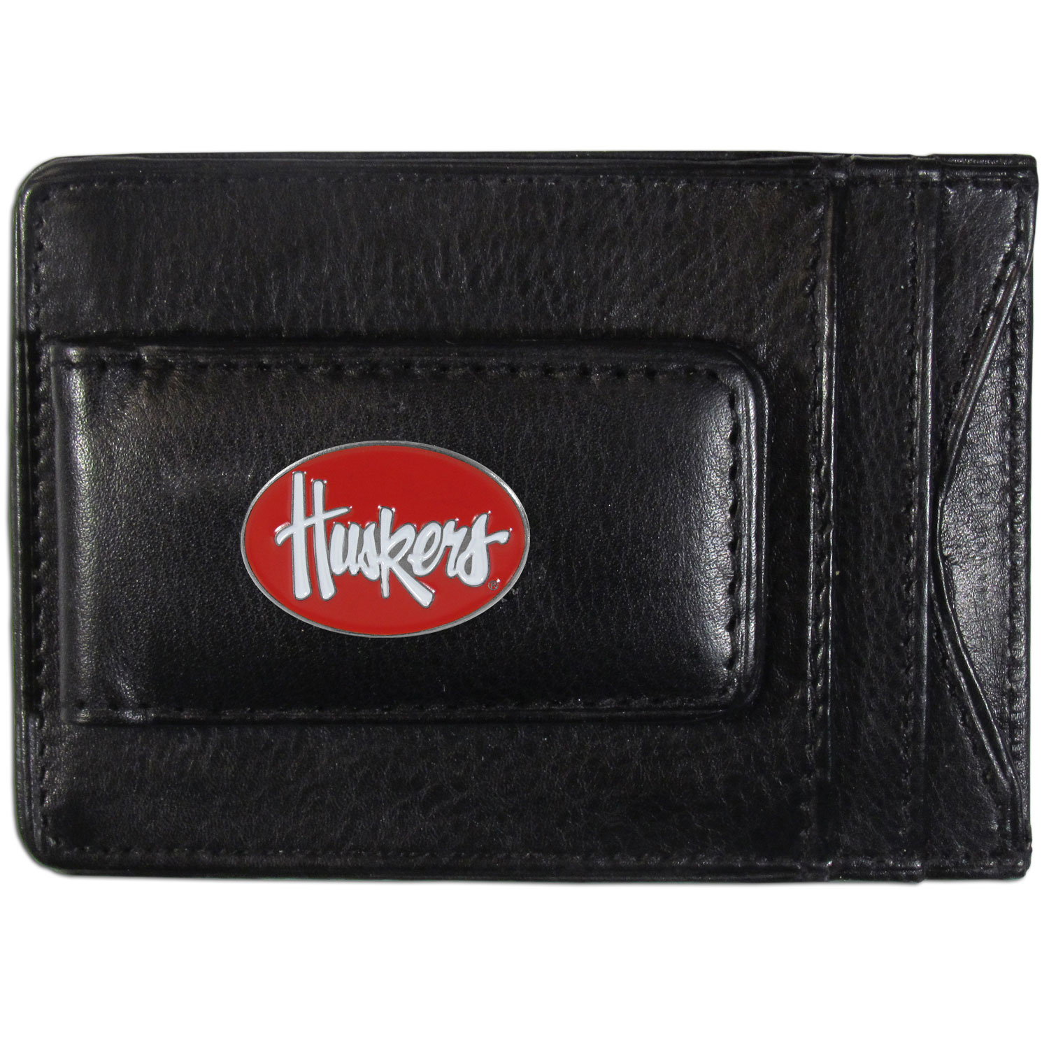 Nebraska Cornhuskers Leather Cash & Cardholder - Our Nebraska Cornhuskers genuine leather cash & cardholder is a great alternative to the traditional bulky wallet. This compact wallet has credit card slots, windowed ID slot and a magnetic money clip that will not damage your credit cards. The wallet features a metal team emblem.