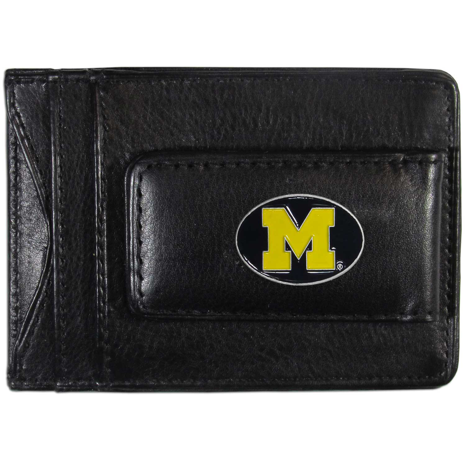 Michigan Wolverines Leather Cash & Cardholder - Our Michigan Wolverines genuine leather cash & cardholder is a great alternative to the traditional bulky wallet. This compact wallet has credit card slots, windowed ID slot and a magnetic money clip that will not damage your credit cards. The wallet features a metal team emblem.