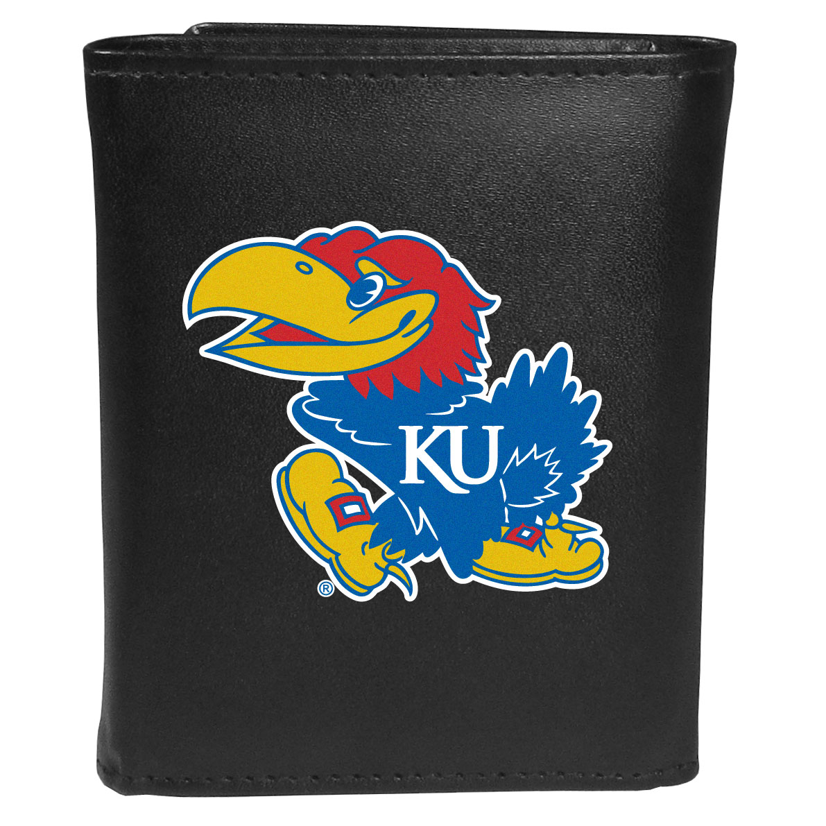 Kansas Jayhawks Leather Tri-fold Wallet, Large Logo - Our classic fine leather tri-fold wallet is meticulously crafted with genuine leather that will age beautifully so you will have a quality wallet for years to come. This is fan apparel at its finest. The wallet is packed with organizational  features; lots of credit card slots, large billfold pocket, and a window ID slot. The front of the wallet features an extra large Kansas Jayhawks printed logo.