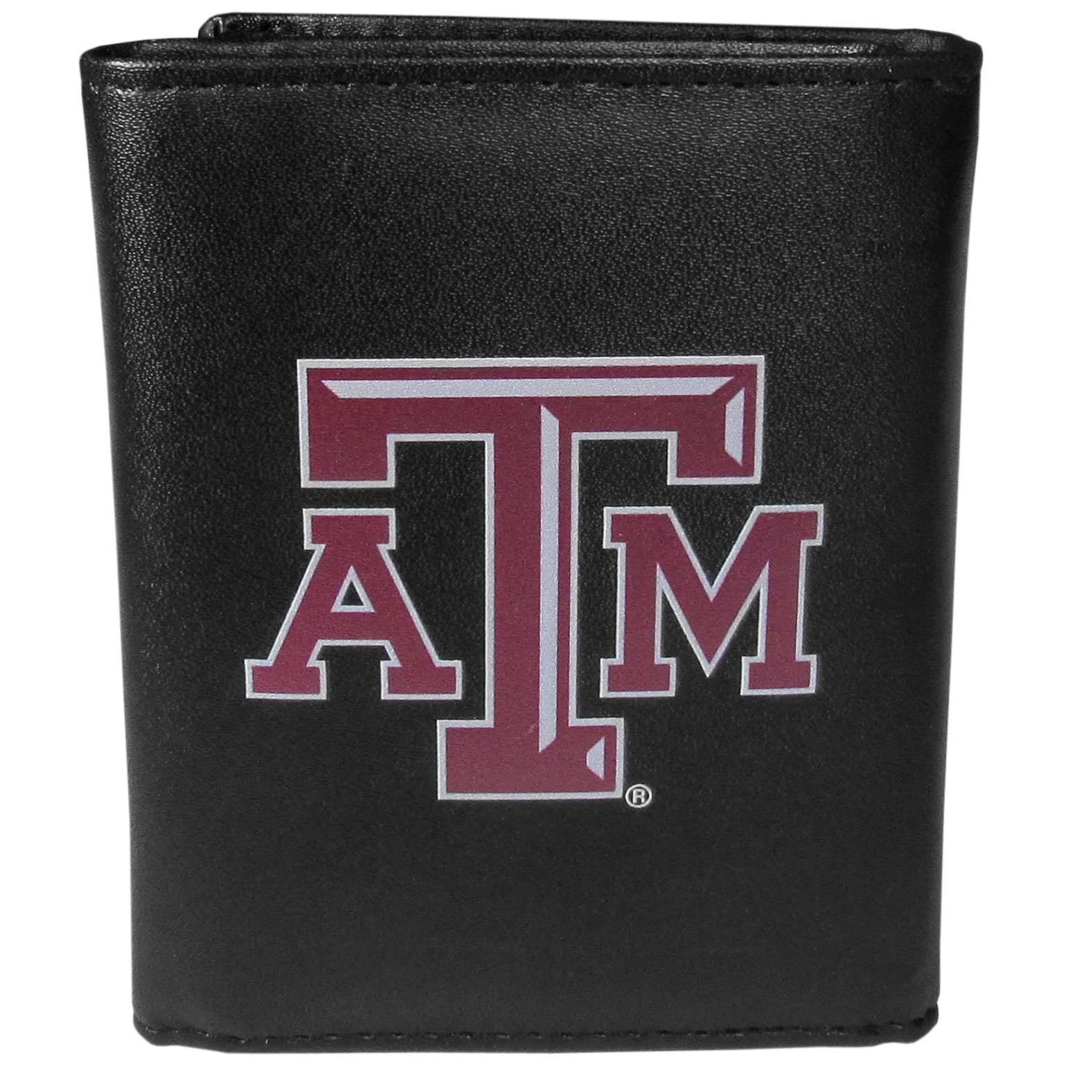 Texas A and M Aggies Leather Tri-fold Wallet, Large Logo - Our classic fine leather tri-fold wallet is meticulously crafted with genuine leather that will age beautifully so you will have a quality wallet for years to come. This is fan apparel at its finest. The wallet is packed with organizational  features; lots of credit card slots, large billfold pocket, and a window ID slot. The front of the wallet features an extra large Texas A & M Aggies printed logo.