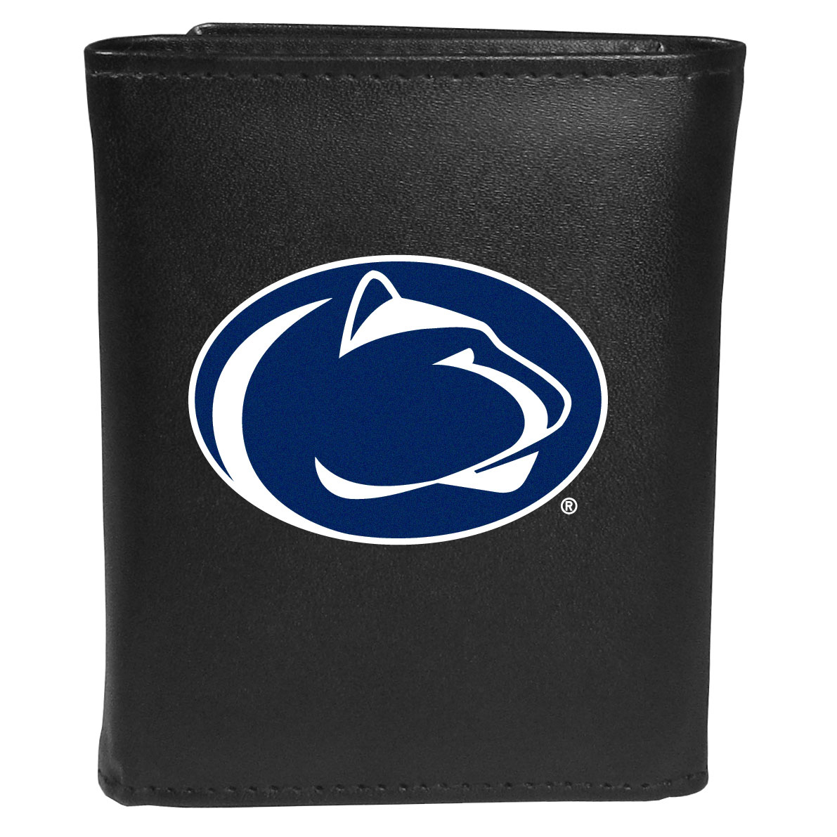 Penn St. Nittany Lions Leather Tri-fold Wallet, Large Logo - Our classic fine leather tri-fold wallet is meticulously crafted with genuine leather that will age beautifully so you will have a quality wallet for years to come. This is fan apparel at its finest. The wallet is packed with organizational  features; lots of credit card slots, large billfold pocket, and a window ID slot. The front of the wallet features an extra large Penn St. Nittany Lions printed logo.