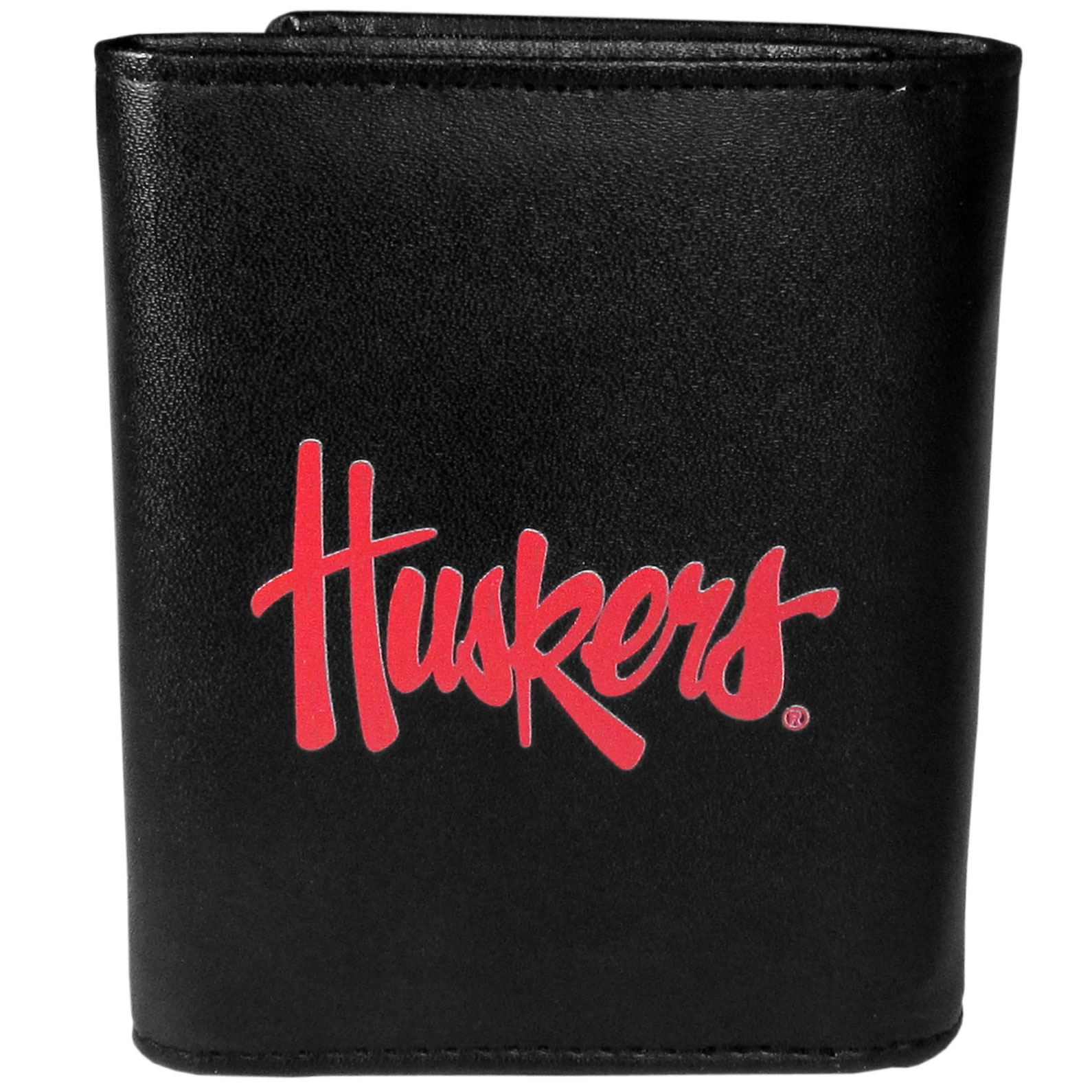 Nebraska Cornhuskers Leather Tri-fold Wallet, Large Logo - Our classic fine leather tri-fold wallet is meticulously crafted with genuine leather that will age beautifully so you will have a quality wallet for years to come. This is fan apparel at its finest. The wallet is packed with organizational  features; lots of credit card slots, large billfold pocket, and a window ID slot. The front of the wallet features an extra large Nebraska Cornhuskers printed logo.