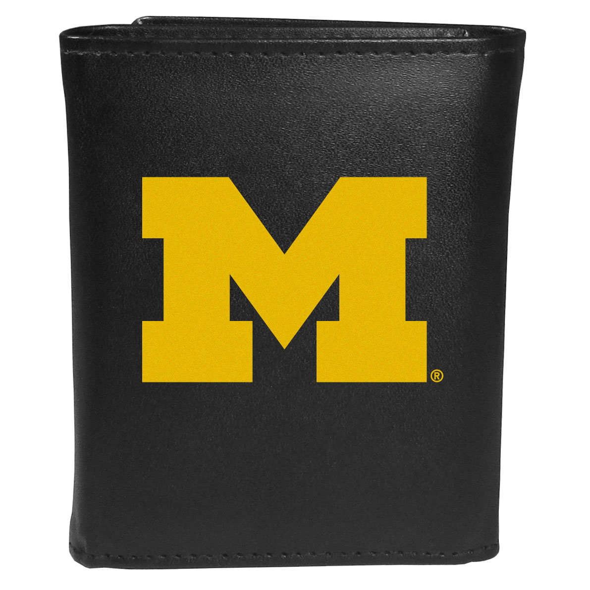 Michigan Wolverines Leather Tri-fold Wallet, Large Logo - Our classic fine leather tri-fold wallet is meticulously crafted with genuine leather that will age beautifully so you will have a quality wallet for years to come. This is fan apparel at its finest. The wallet is packed with organizational  features; lots of credit card slots, large billfold pocket, and a window ID slot. The front of the wallet features an extra large Michigan Wolverines printed logo.