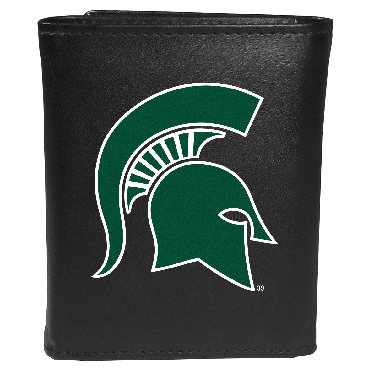 Michigan St. Spartans Leather Tri-fold Wallet, Large Logo - Our classic fine leather tri-fold wallet is meticulously crafted with genuine leather that will age beautifully so you will have a quality wallet for years to come. This is fan apparel at its finest. The wallet is packed with organizational  features; lots of credit card slots, large billfold pocket, and a window ID slot. The front of the wallet features an extra large Michigan St. Spartans printed logo.