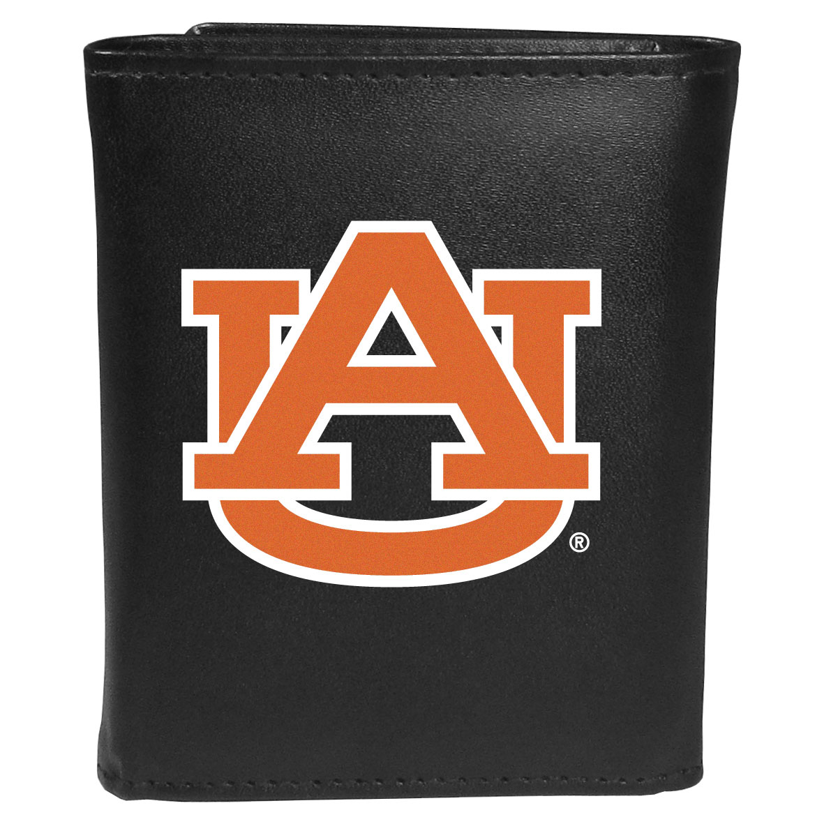Auburn Tigers Leather Tri-fold Wallet, Large Logo - Our classic fine leather tri-fold wallet is meticulously crafted with genuine leather that will age beautifully so you will have a quality wallet for years to come. This is fan apparel at its finest. The wallet is packed with organizational  features; lots of credit card slots, large billfold pocket, and a window ID slot. The front of the wallet features an extra large Auburn Tigers printed logo.
