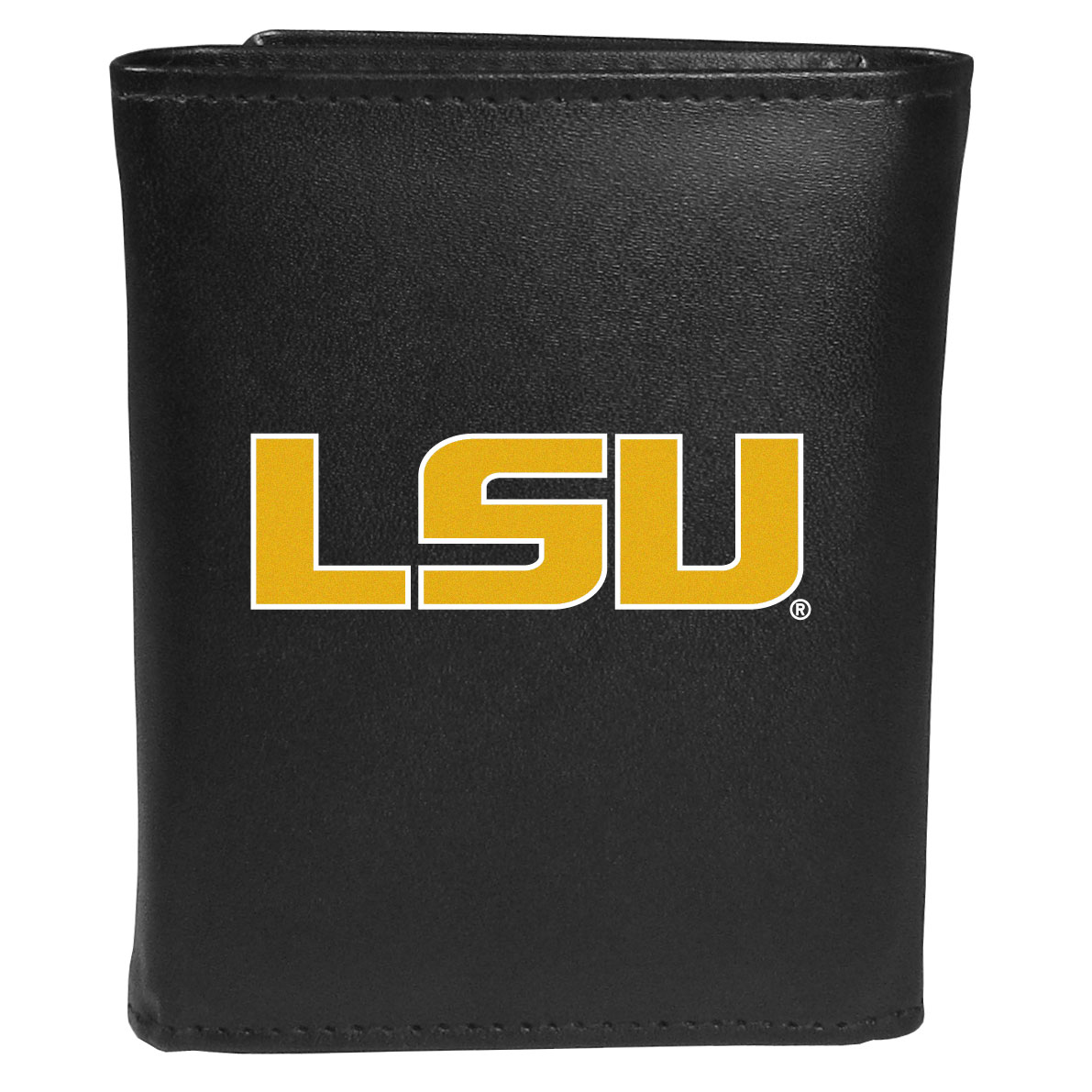 LSU Tigers Leather Tri-fold Wallet, Large Logo - Our classic fine leather tri-fold wallet is meticulously crafted with genuine leather that will age beautifully so you will have a quality wallet for years to come. This is fan apparel at its finest. The wallet is packed with organizational  features; lots of credit card slots, large billfold pocket, and a window ID slot. The front of the wallet features an extra large LSU Tigers printed logo.