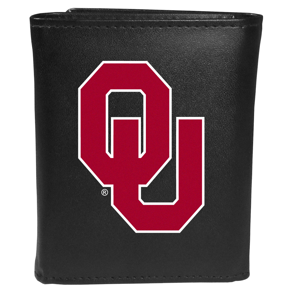 Oklahoma Sooners Leather Tri-fold Wallet, Large Logo - Our classic fine leather tri-fold wallet is meticulously crafted with genuine leather that will age beautifully so you will have a quality wallet for years to come. This is fan apparel at its finest. The wallet is packed with organizational  features; lots of credit card slots, large billfold pocket, and a window ID slot. The front of the wallet features an extra large Oklahoma Sooners printed logo.