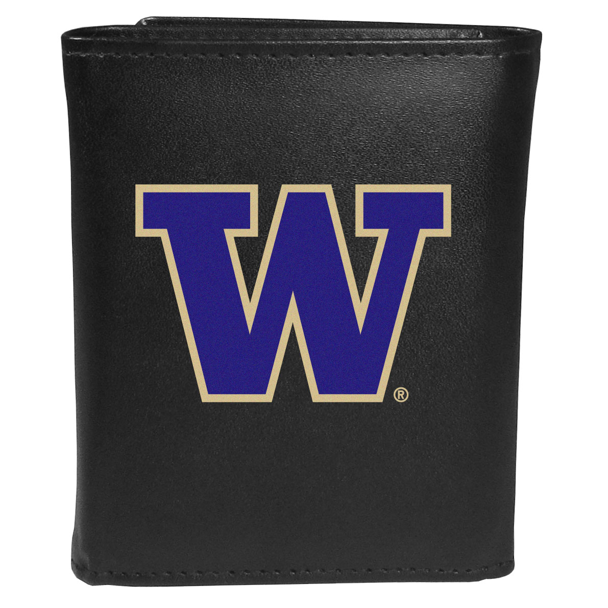 Washington Huskies Leather Tri-fold Wallet, Large Logo - Our classic fine leather tri-fold wallet is meticulously crafted with genuine leather that will age beautifully so you will have a quality wallet for years to come. This is fan apparel at its finest. The wallet is packed with organizational  features; lots of credit card slots, large billfold pocket, and a window ID slot. The front of the wallet features an extra large Washington Huskies printed logo.