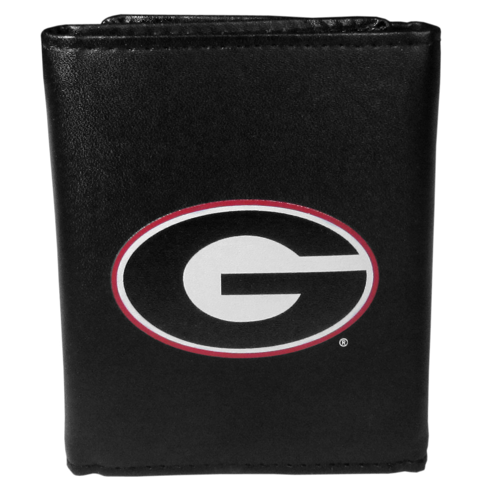Georgia Bulldogs Leather Tri-fold Wallet, Large Logo - Our classic fine leather tri-fold wallet is meticulously crafted with genuine leather that will age beautifully so you will have a quality wallet for years to come. This is fan apparel at its finest. The wallet is packed with organizational  features; lots of credit card slots, large billfold pocket, and a window ID slot. The front of the wallet features an extra large Georgia Bulldogs printed logo.