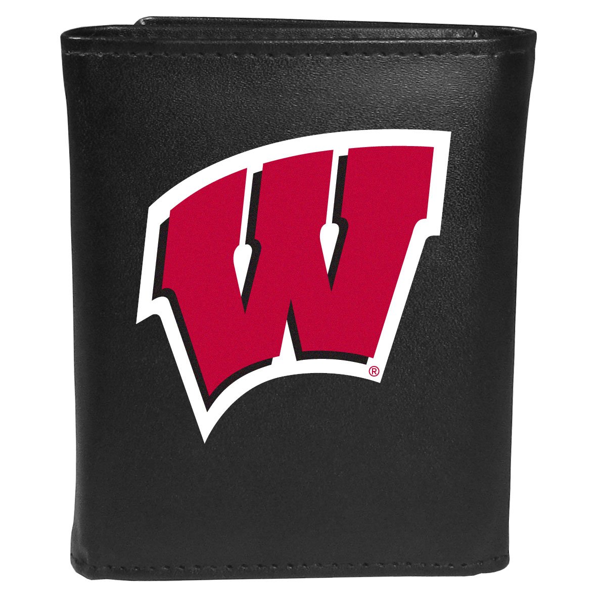 Wisconsin Badgers Leather Tri-fold Wallet, Large Logo - Our classic fine leather tri-fold wallet is meticulously crafted with genuine leather that will age beautifully so you will have a quality wallet for years to come. This is fan apparel at its finest. The wallet is packed with organizational  features; lots of credit card slots, large billfold pocket, and a window ID slot. The front of the wallet features an extra large Wisconsin Badgers printed logo.