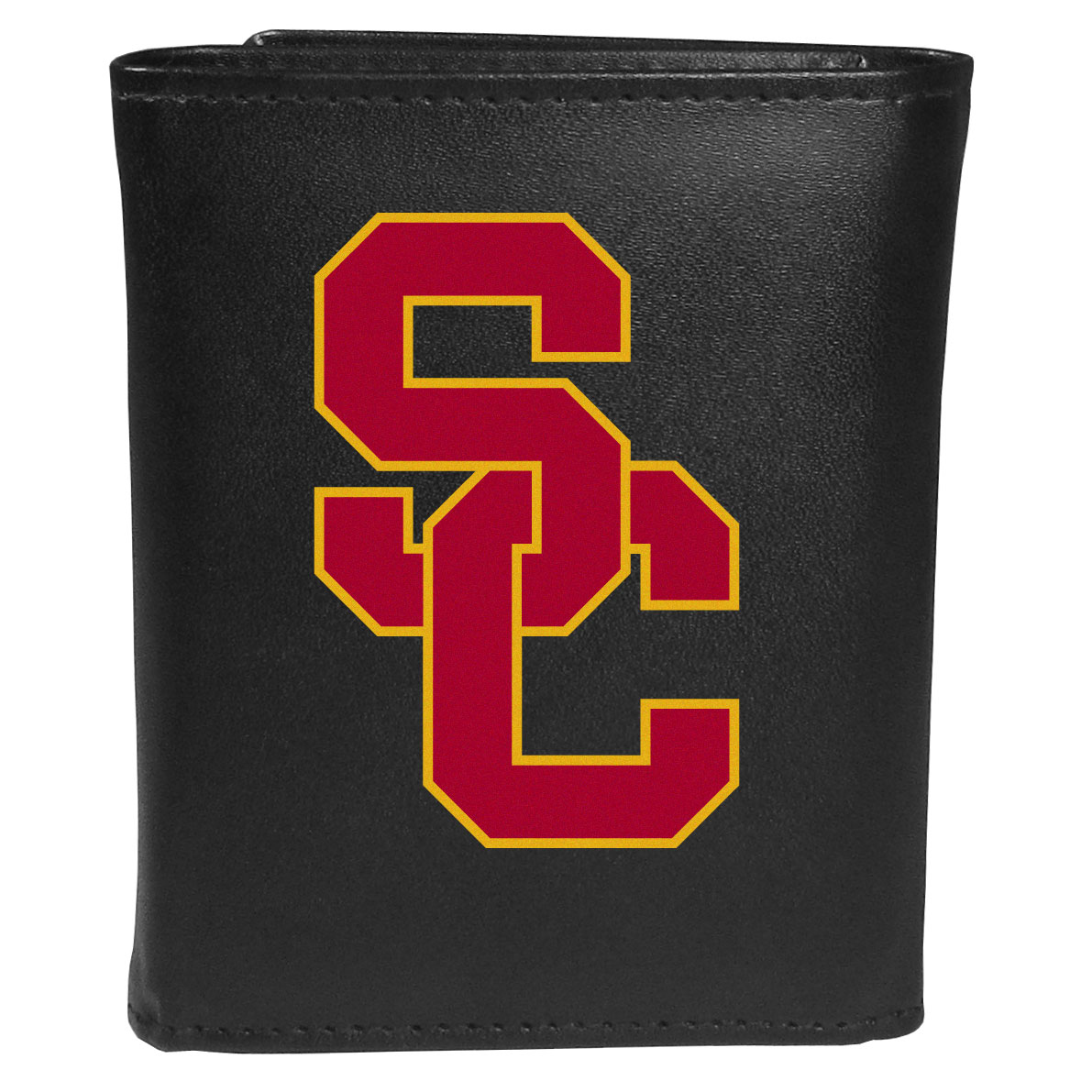 USC Trojans Leather Tri-fold Wallet, Large Logo - Our classic fine leather tri-fold wallet is meticulously crafted with genuine leather that will age beautifully so you will have a quality wallet for years to come. This is fan apparel at its finest. The wallet is packed with organizational  features; lots of credit card slots, large billfold pocket, and a window ID slot. The front of the wallet features an extra large USC Trojans printed logo.