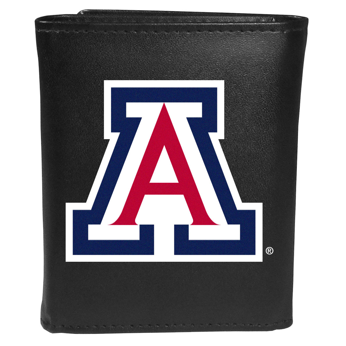 Arizona Wildcats Leather Tri-fold Wallet, Large Logo - Our classic fine leather tri-fold wallet is meticulously crafted with genuine leather that will age beautifully so you will have a quality wallet for years to come. This is fan apparel at its finest. The wallet is packed with organizational  features; lots of credit card slots, large billfold pocket, and a window ID slot. The front of the wallet features an extra large Arizona Wildcats printed logo.