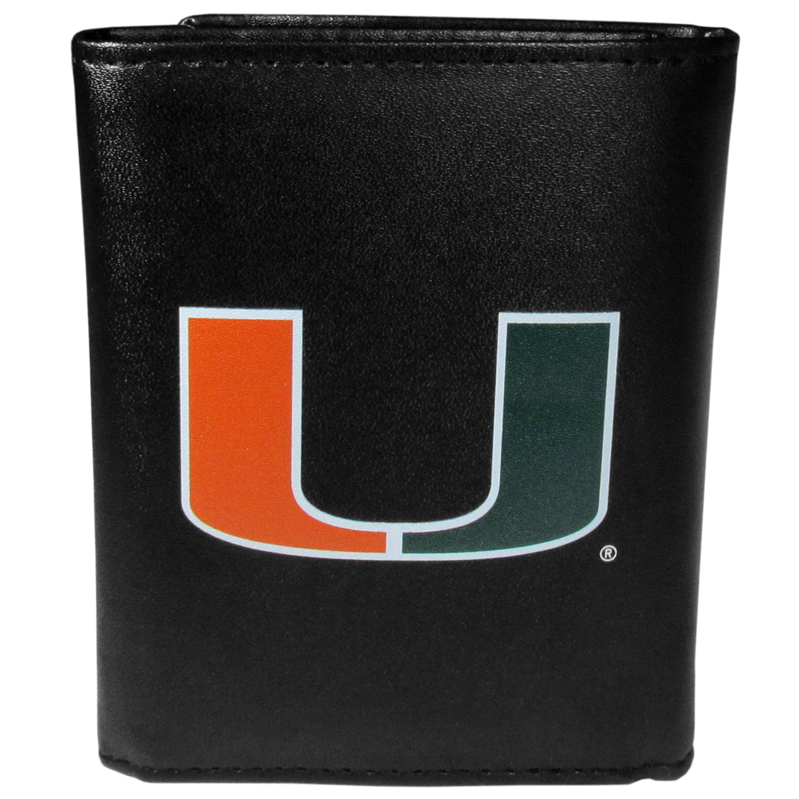 Miami Hurricanes Leather Tri-fold Wallet, Large Logo - Our classic fine leather tri-fold wallet is meticulously crafted with genuine leather that will age beautifully so you will have a quality wallet for years to come. This is fan apparel at its finest. The wallet is packed with organizational  features; lots of credit card slots, large billfold pocket, and a window ID slot. The front of the wallet features an extra large Miami Hurricanes printed logo.