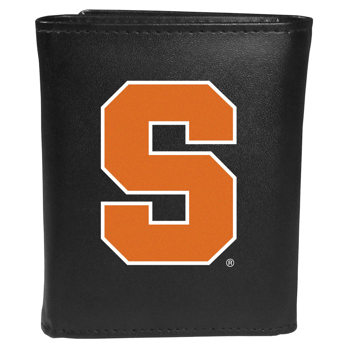 Syracuse Orange Leather Tri-fold Wallet, Large Logo - Our classic fine leather tri-fold wallet is meticulously crafted with genuine leather that will age beautifully so you will have a quality wallet for years to come. This is fan apparel at its finest. The wallet is packed with organizational  features; lots of credit card slots, large billfold pocket, and a window ID slot. The front of the wallet features an extra large Syracuse Orange printed logo.