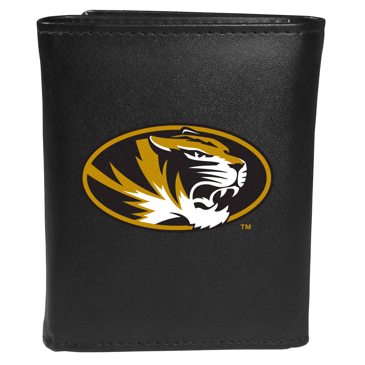 Missouri Tigers Leather Tri-fold Wallet, Large Logo - Our classic fine leather tri-fold wallet is meticulously crafted with genuine leather that will age beautifully so you will have a quality wallet for years to come. This is fan apparel at its finest. The wallet is packed with organizational  features; lots of credit card slots, large billfold pocket, and a window ID slot. The front of the wallet features an extra large Missouri Tigers printed logo.