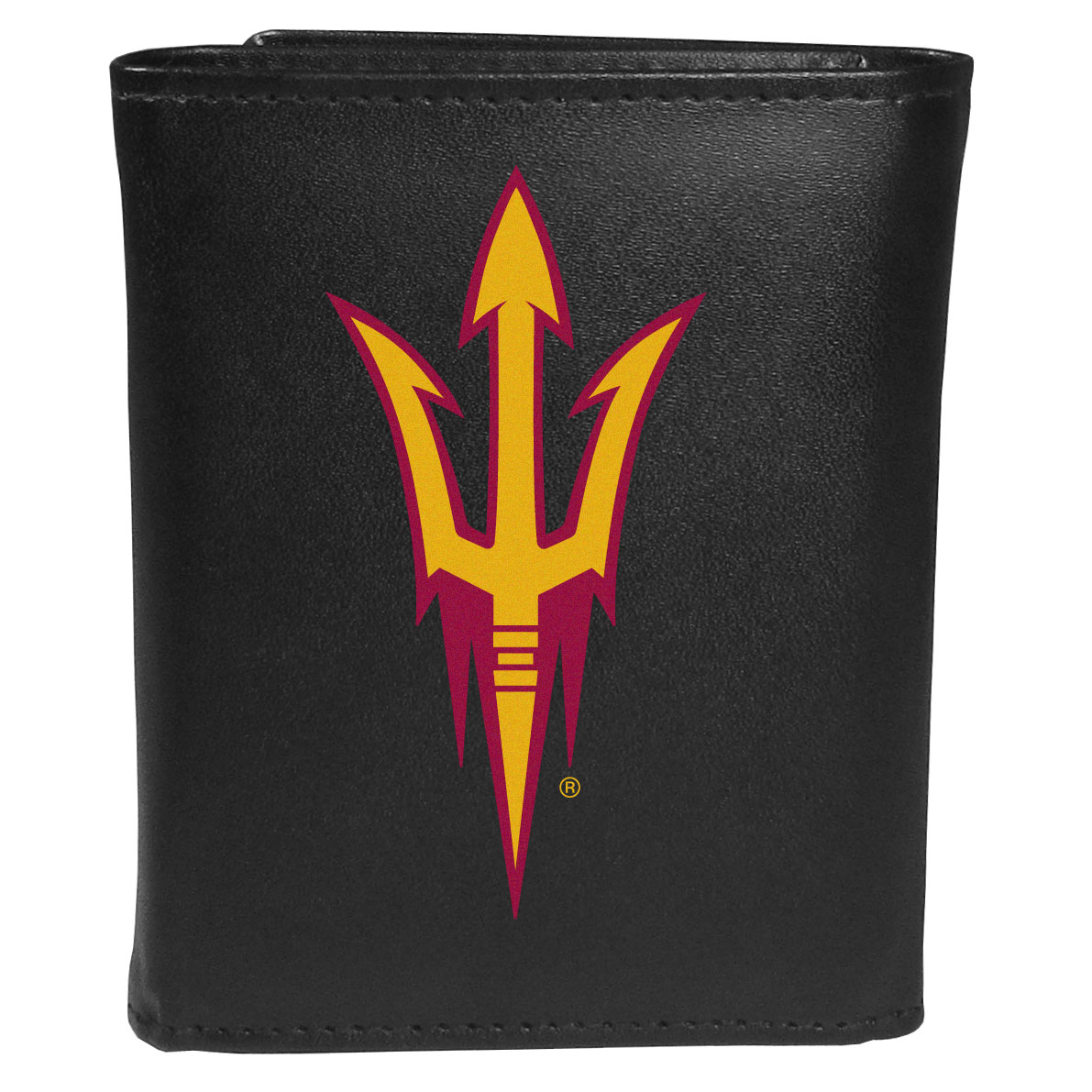 Arizona St. Sun Devils Leather Tri-fold Wallet, Large Logo - Our classic fine leather tri-fold wallet is meticulously crafted with genuine leather that will age beautifully so you will have a quality wallet for years to come. This is fan apparel at its finest. The wallet is packed with organizational  features; lots of credit card slots, large billfold pocket, and a window ID slot. The front of the wallet features an extra large Arizona St. Sun Devils printed logo.