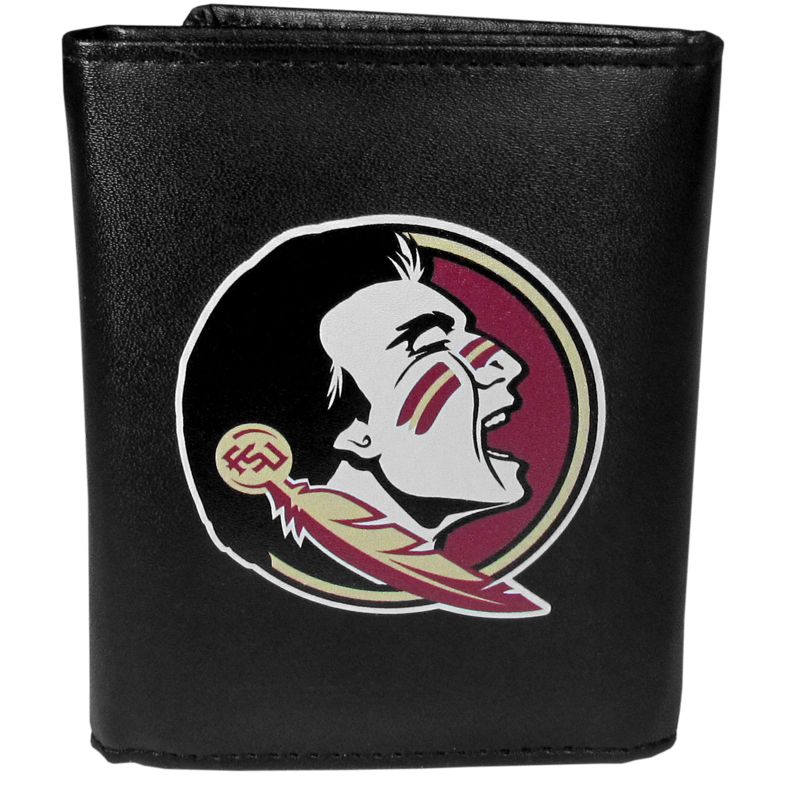 Florida St. Seminoles Leather Tri-fold Wallet, Large Logo - Our classic fine leather tri-fold wallet is meticulously crafted with genuine leather that will age beautifully so you will have a quality wallet for years to come. This is fan apparel at its finest. The wallet is packed with organizational  features; lots of credit card slots, large billfold pocket, and a window ID slot. The front of the wallet features an extra large Florida St. Seminoles printed logo.