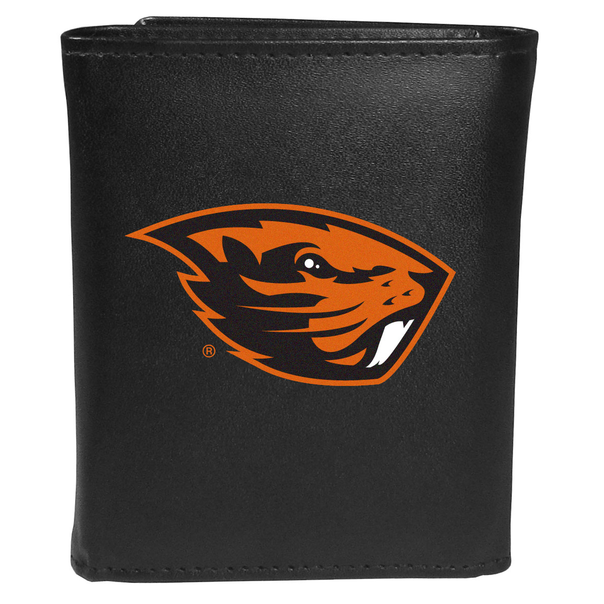 Oregon St. Beavers Leather Tri-fold Wallet, Large Logo - Our classic fine leather tri-fold wallet is meticulously crafted with genuine leather that will age beautifully so you will have a quality wallet for years to come. This is fan apparel at its finest. The wallet is packed with organizational  features; lots of credit card slots, large billfold pocket, and a window ID slot. The front of the wallet features an extra large Oregon St. Beavers printed logo.