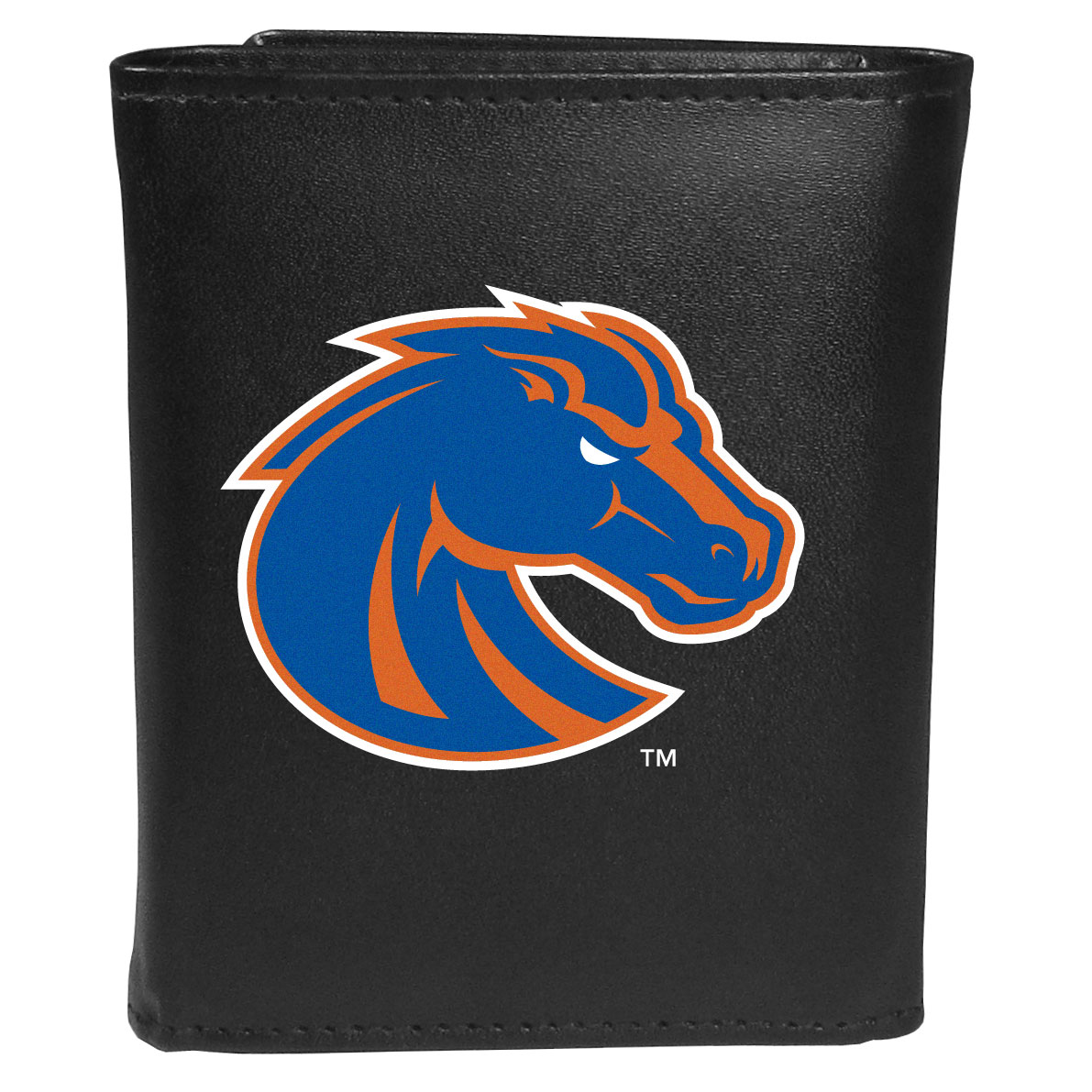 Boise St. Broncos Leather Tri-fold Wallet, Large Logo - Our classic fine leather tri-fold wallet is meticulously crafted with genuine leather that will age beautifully so you will have a quality wallet for years to come. This is fan apparel at its finest. The wallet is packed with organizational  features; lots of credit card slots, large billfold pocket, and a window ID slot. The front of the wallet features an extra large Boise St. Broncos printed logo.
