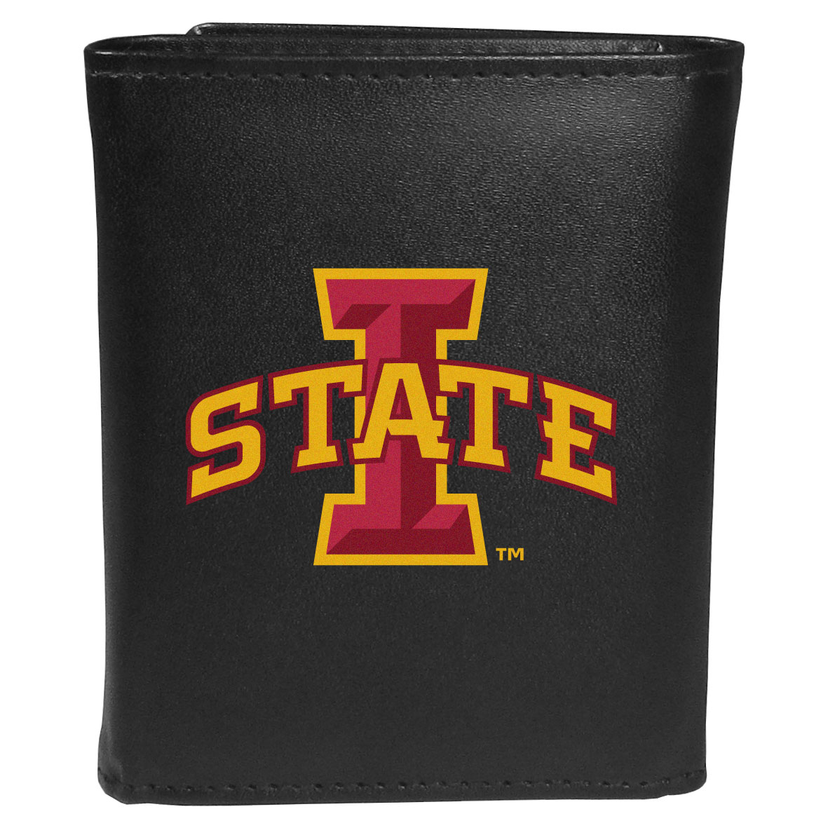 Iowa St. Cyclones Leather Tri-fold Wallet, Large Logo - Our classic fine leather tri-fold wallet is meticulously crafted with genuine leather that will age beautifully so you will have a quality wallet for years to come. This is fan apparel at its finest. The wallet is packed with organizational  features; lots of credit card slots, large billfold pocket, and a window ID slot. The front of the wallet features an extra large Iowa St. Cyclones printed logo.